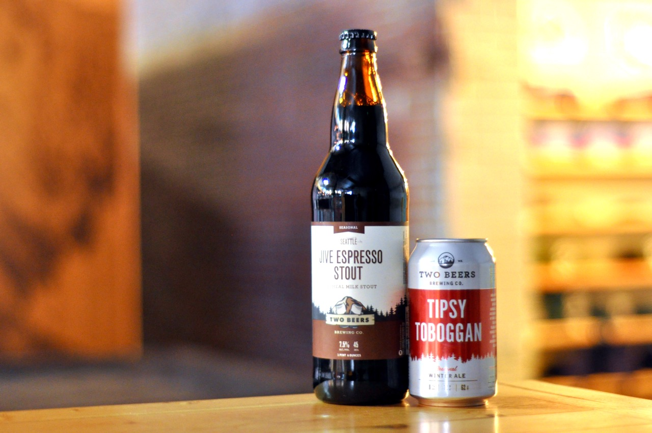 Jive Espresso Stout and Tipsy Toboggan from Two Beers Brewing. (image courtesy of Two Beers)