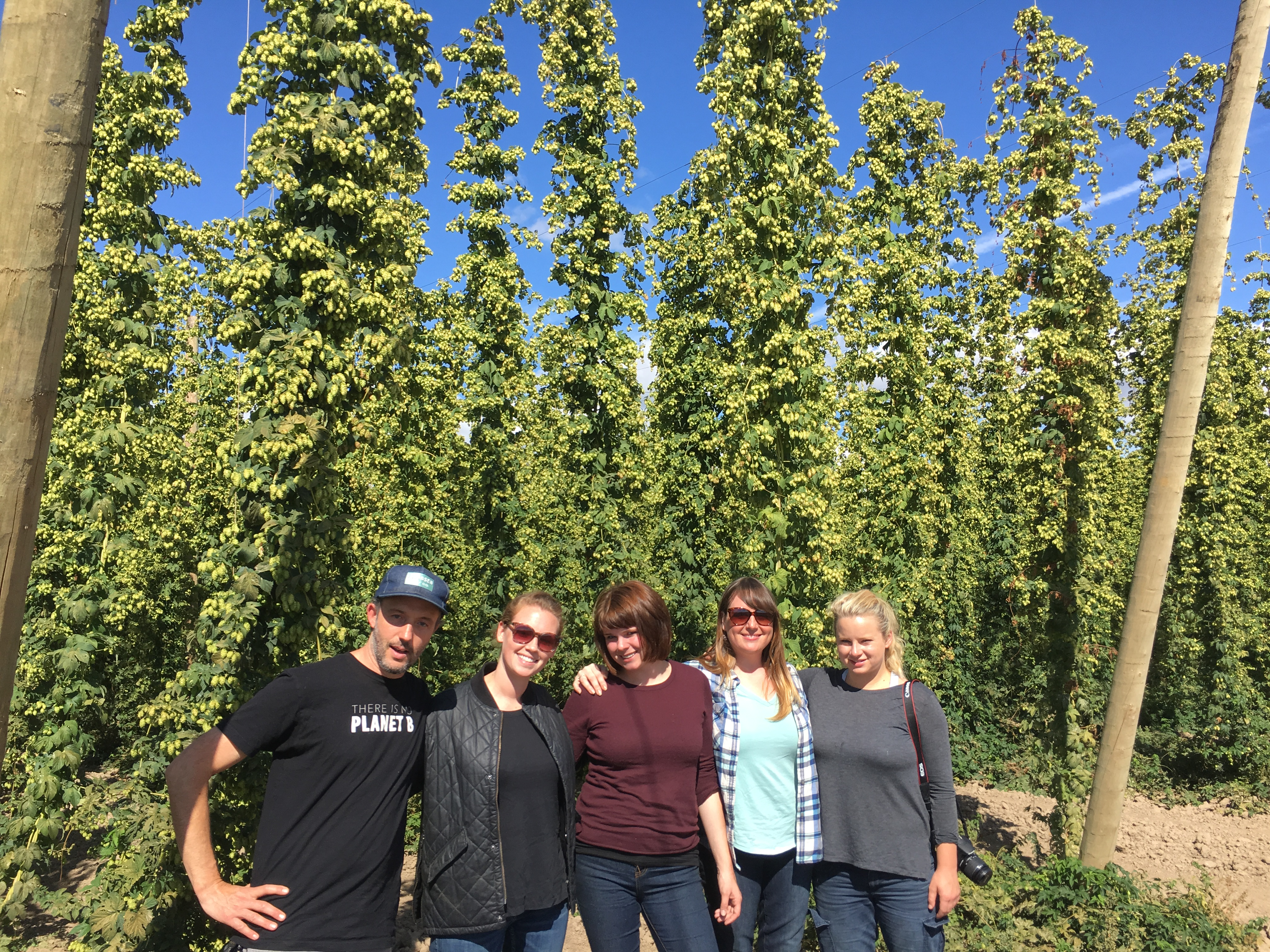 Laughing Planet Staff at B&D Hop Farm. (image courtesy of Backwoods Brewing)