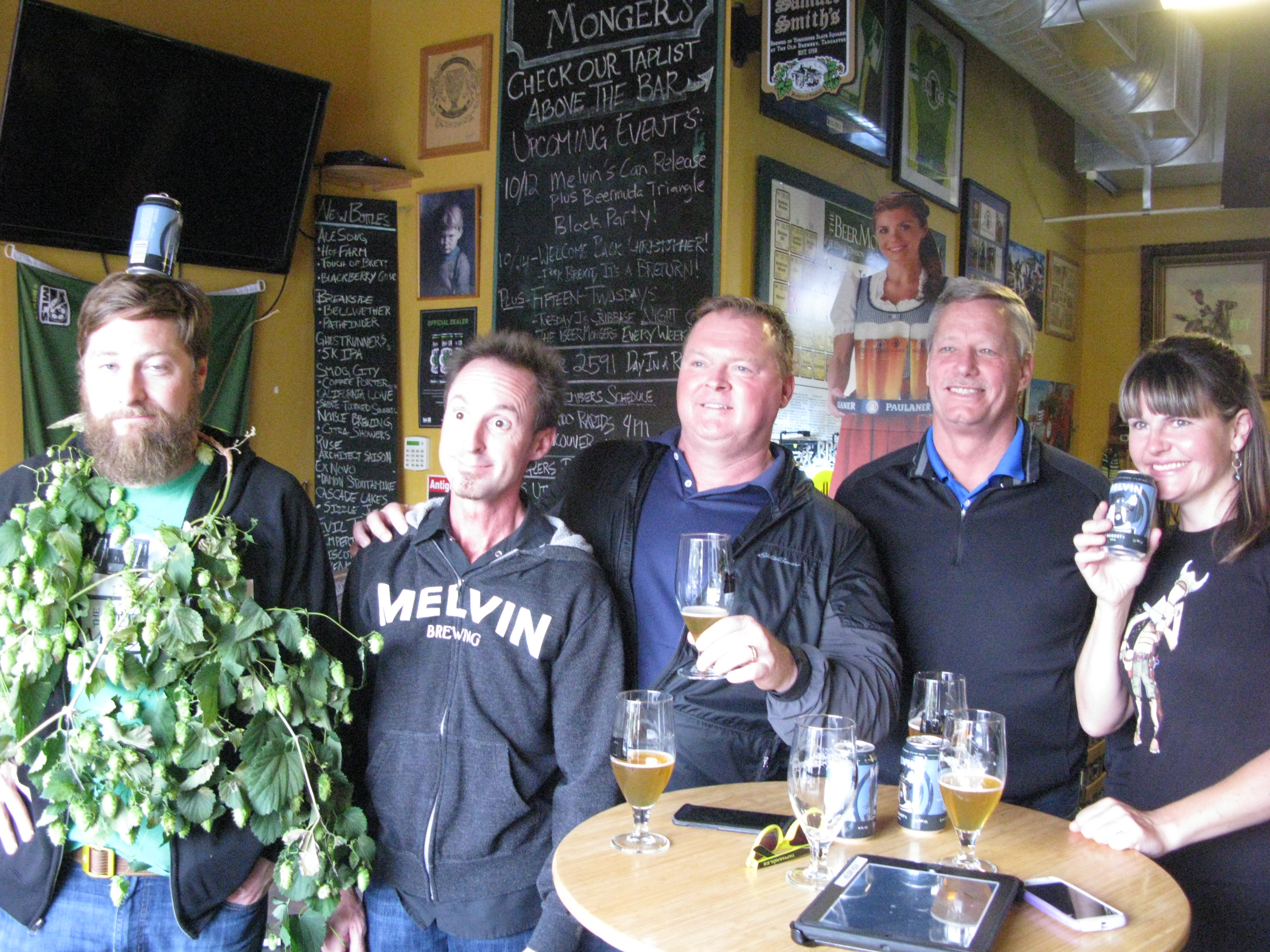 Melvin Brewing co-founder Jeremy Tofte (resplendent in a Sean-Monger-crafted hop necklace) was in town Wednesday with the General Distributing crew at The BeerMongers. (FoystonFoto)