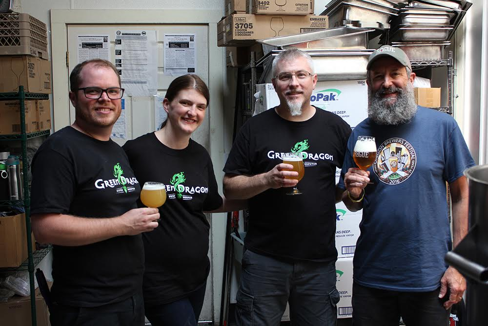 Members of the Green Dragon Brew Crew with Rogue Brewmaster John Maier (right). (photo courtesy of Rogue Ales)