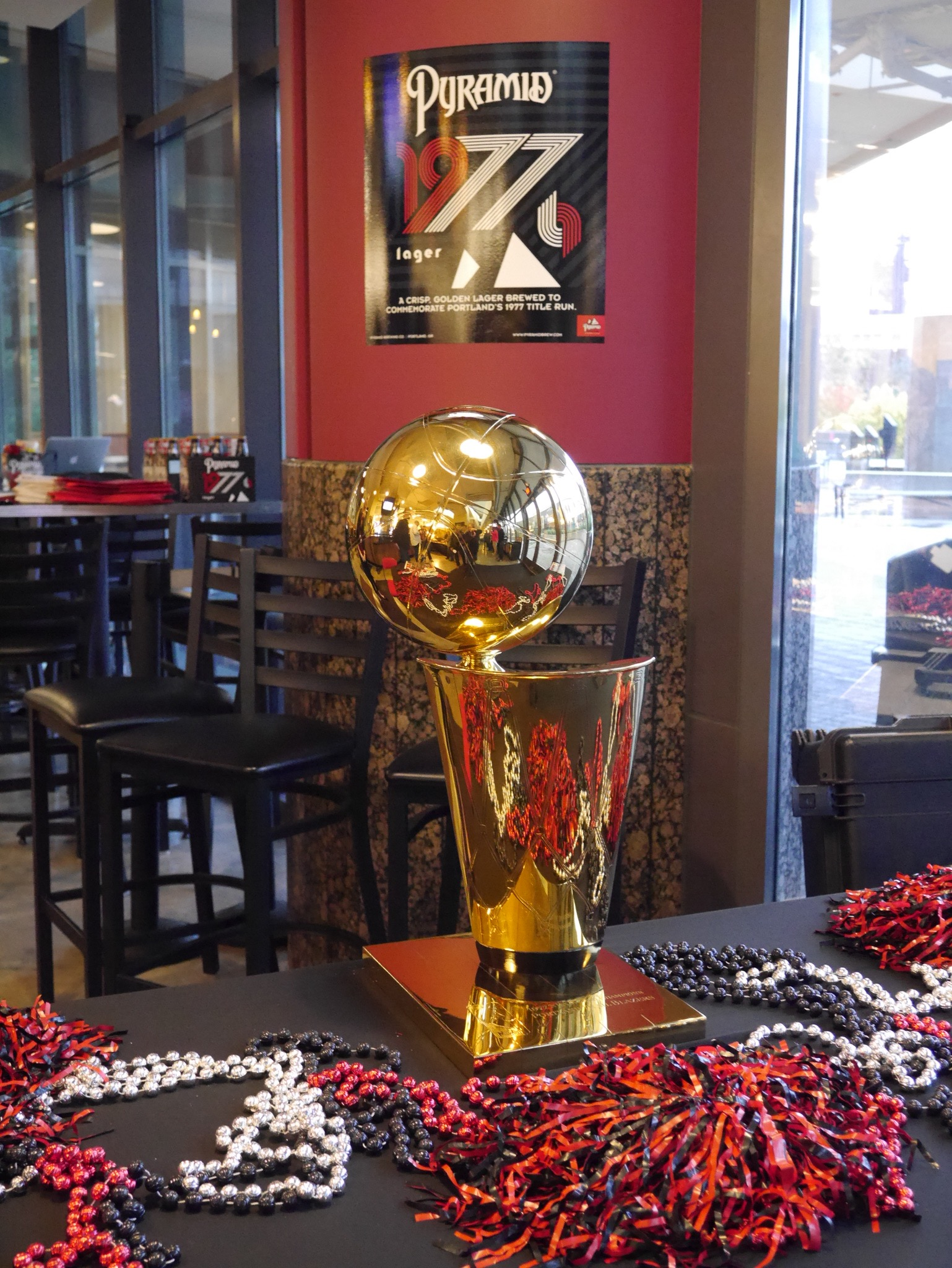 The 1977 Portland Trail Blazers NBA Championship Trophy. (photo by Cat Stelzer)