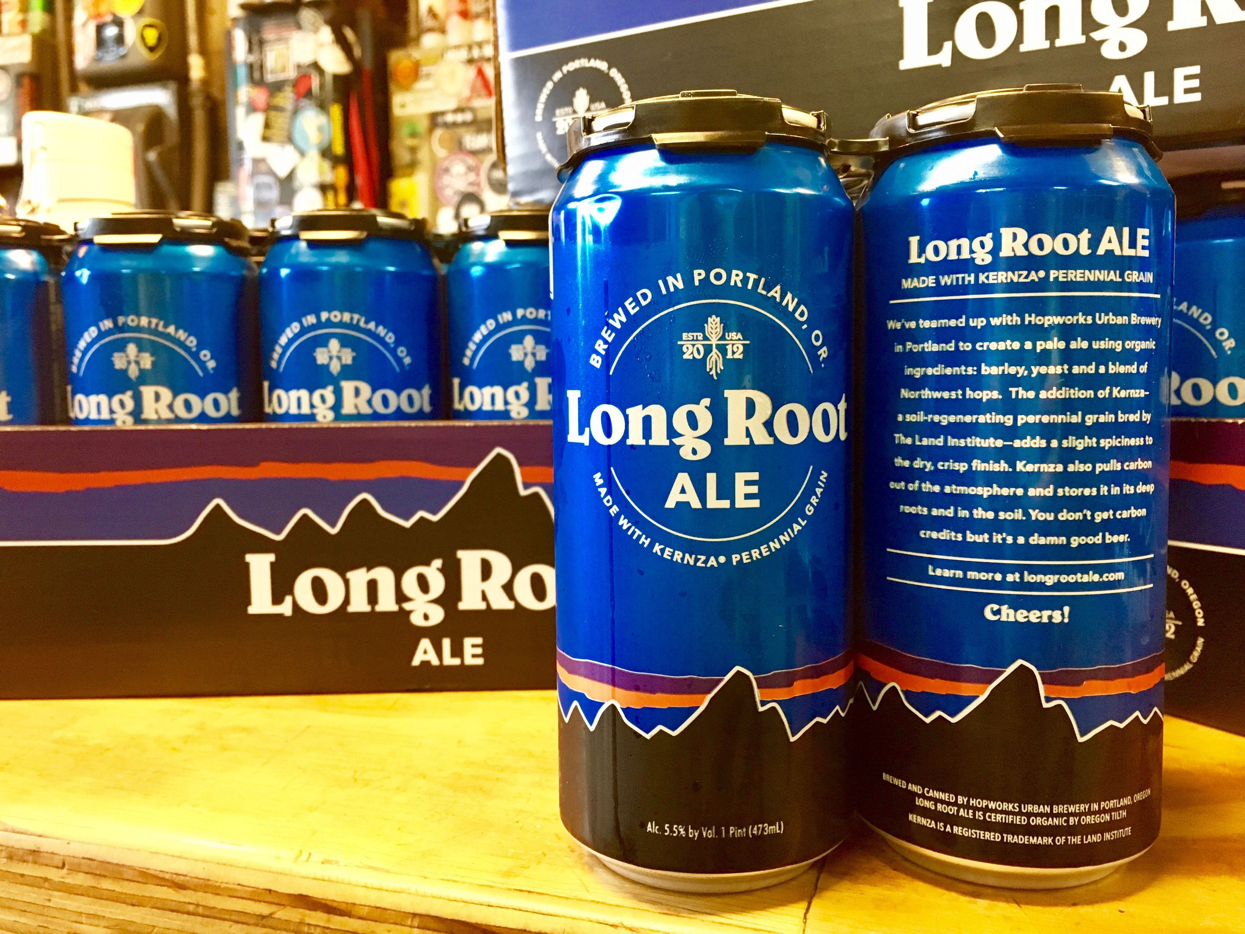 The front and back of a 16 oz. can of Hopworks Urban Brewery and Patagonia Provisions Long Root Ale, brewed with Kernza perennial grain.