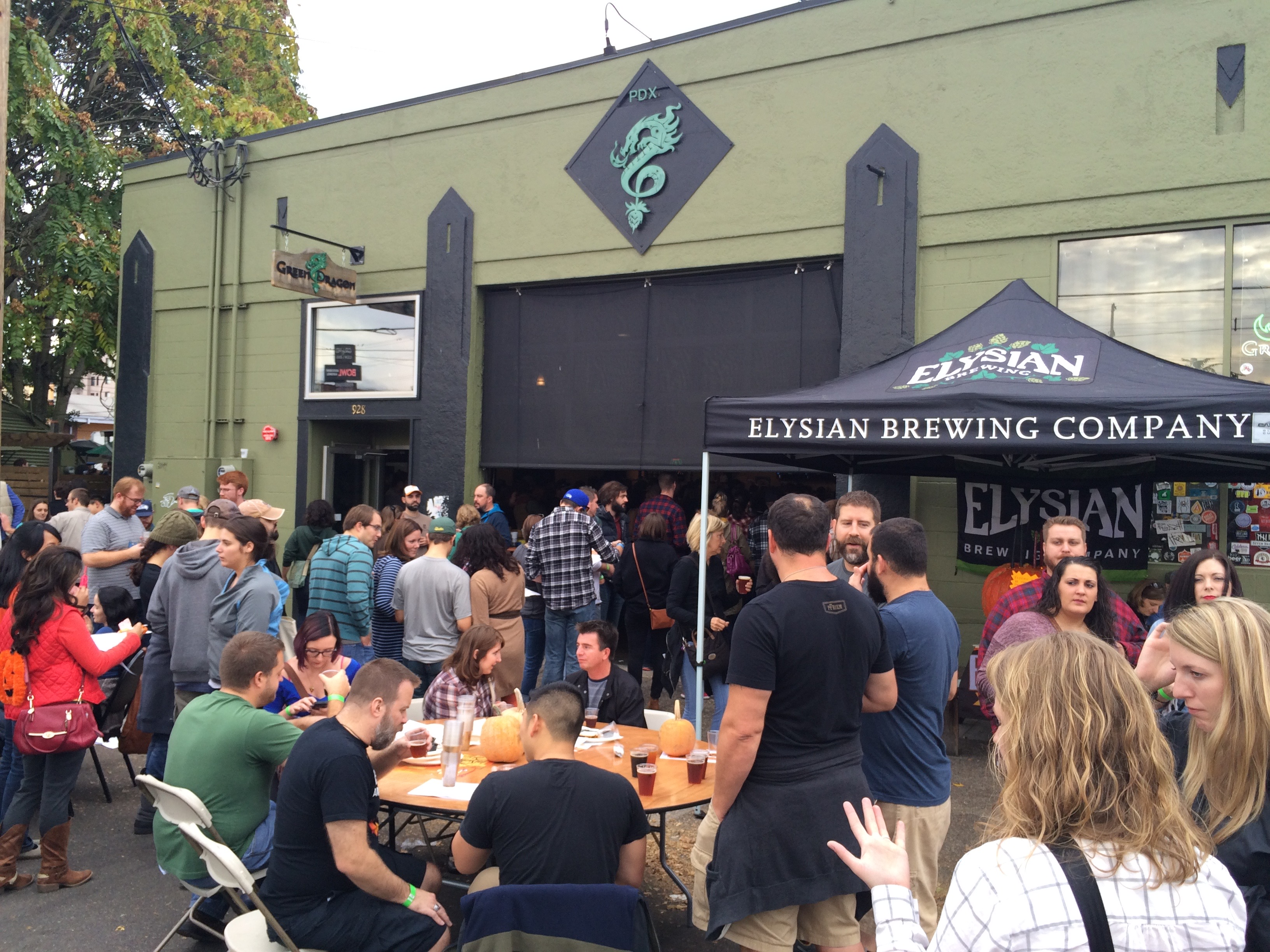 The outside area at Green Dragon at the 2015 Killer Pumpkin Festival during Killer Beer Week.