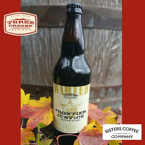 Three Creeks Brewing Frontier Justice Coffee Stout that uses Sisters Coffee. (image courtesy of Three Creeks Brewing)