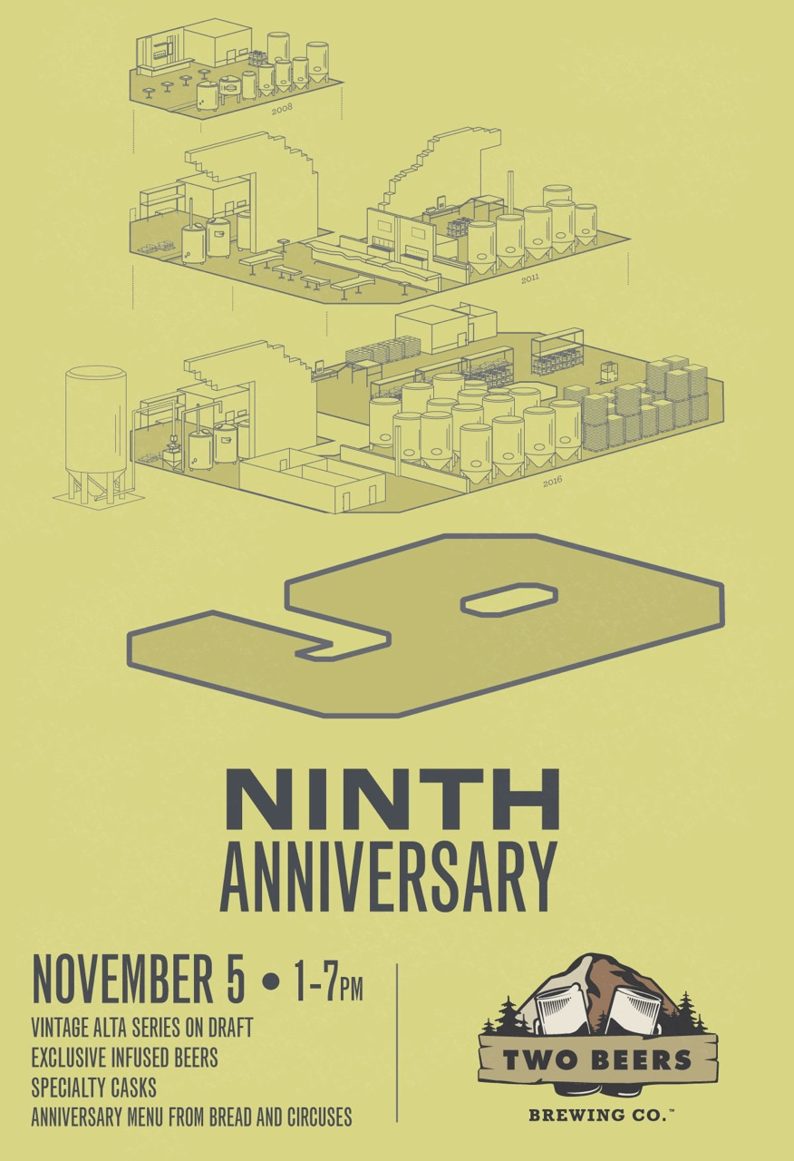 two-beers-brewing-9th-anniversary-poster