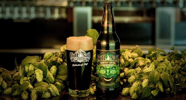 A pint pour of Full Sail Shortest Day CDA. (image courtesy of Full Sail Brewing)