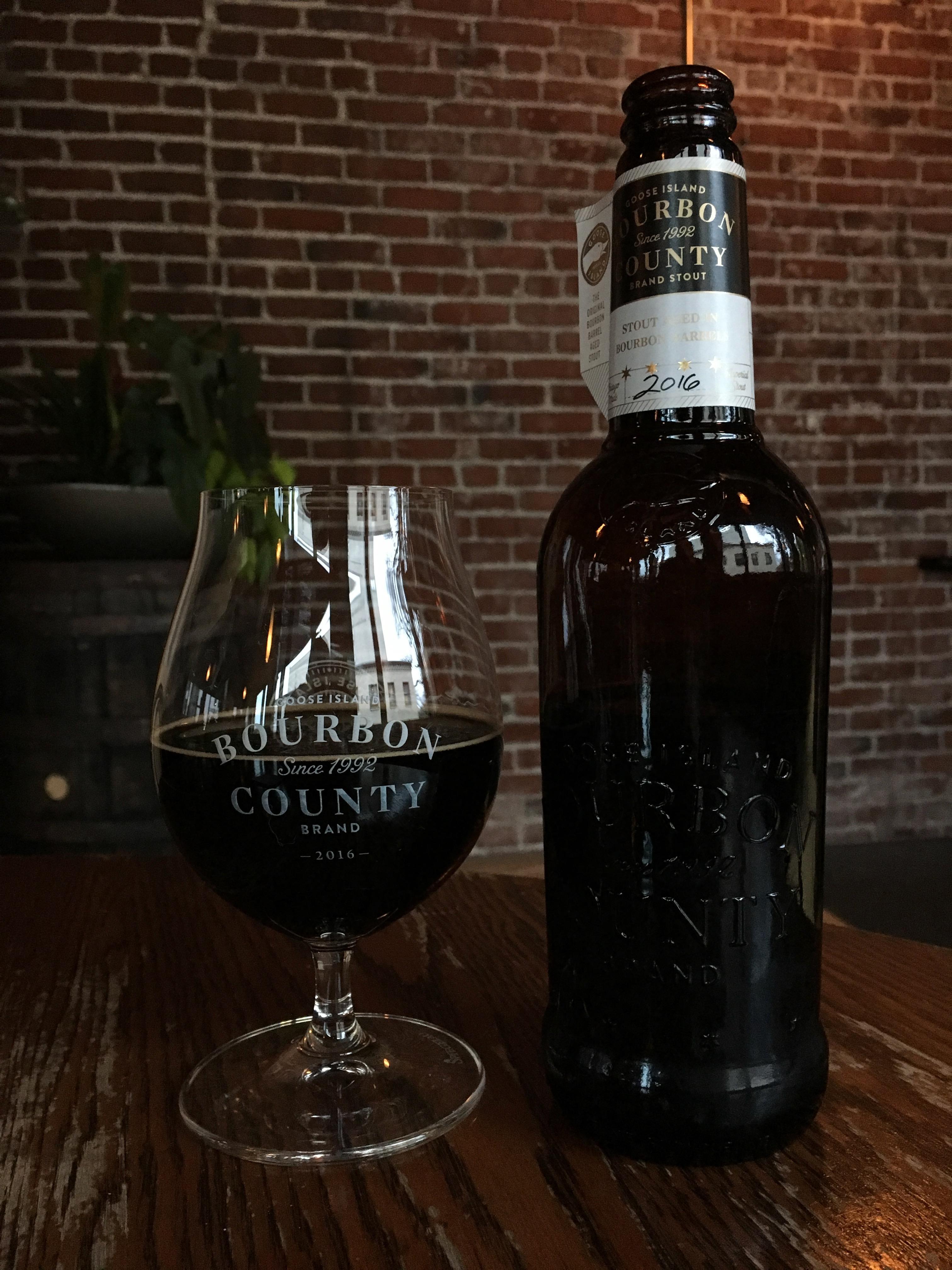 A pour of 2016 Goose Island Bourbon County Brand Stout.