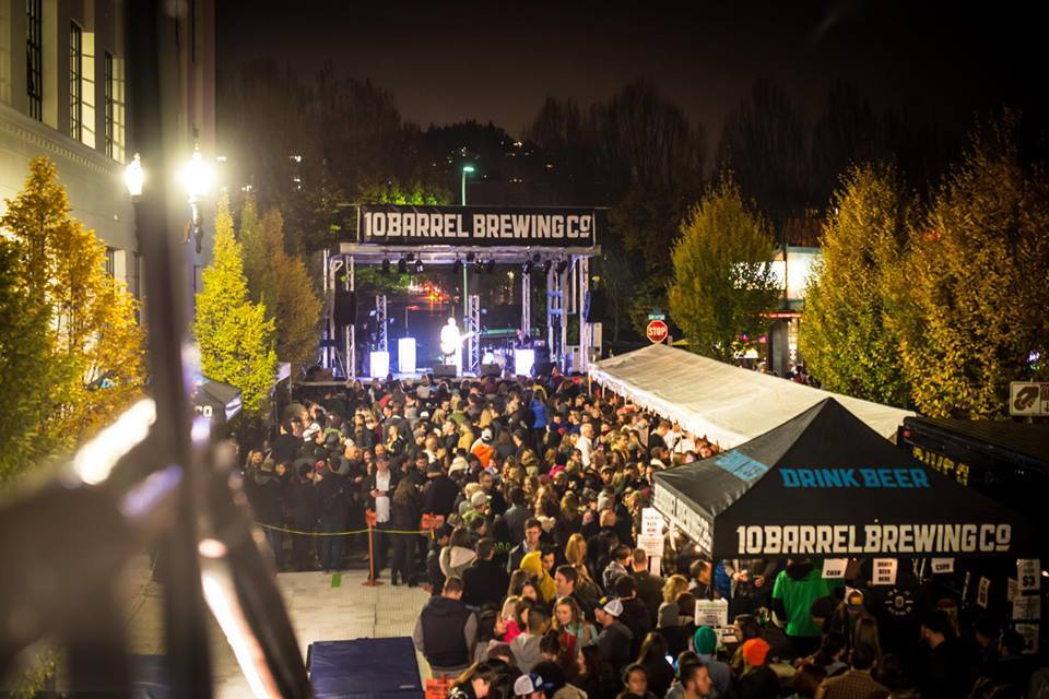 An overhead shot of the crowd from 2015 at 10 Barrel Brewing's Pray for Snow Party in Portland, Oregon. (image courtesy of 10 Barrel Brewing)