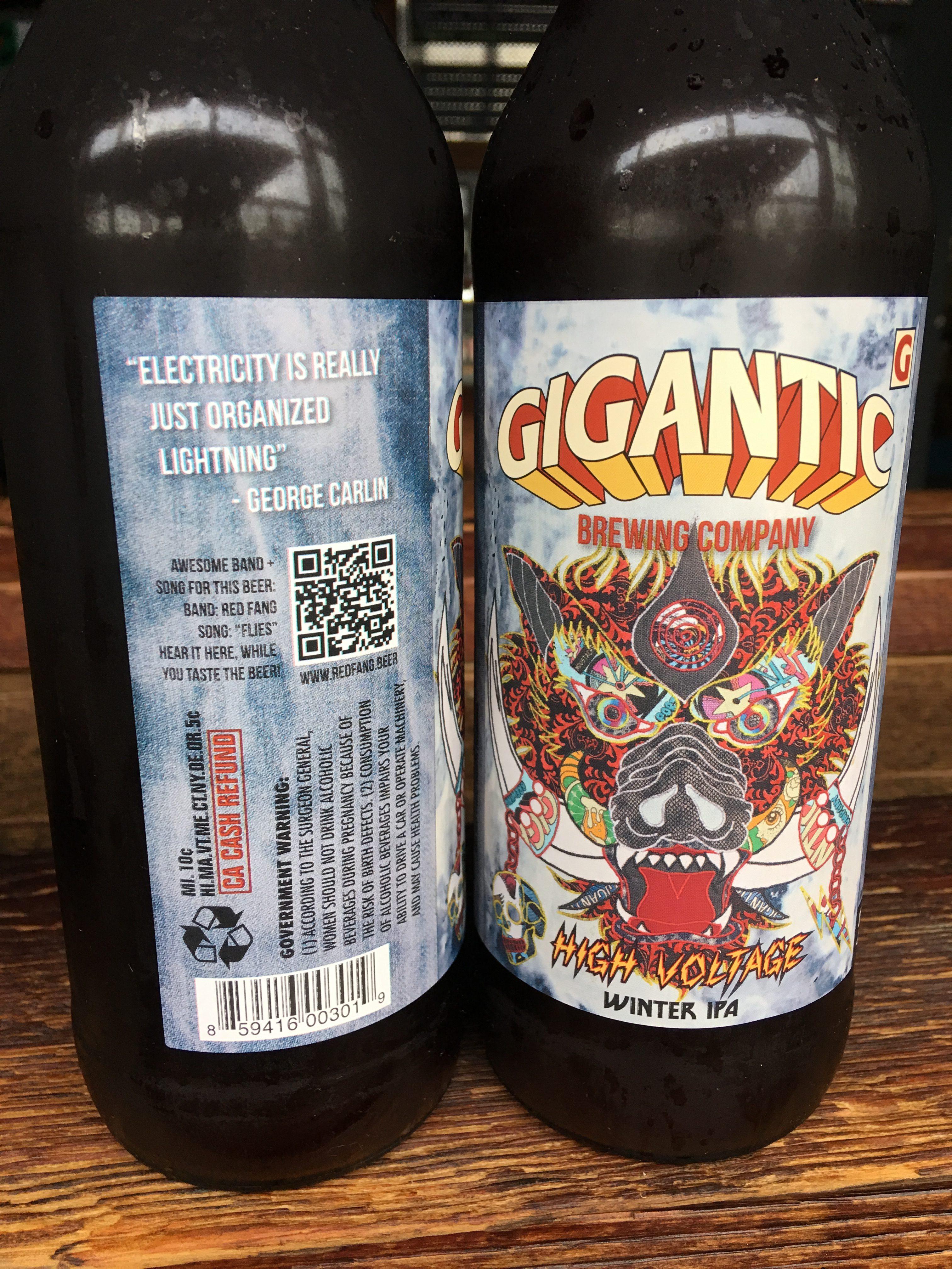Bottles of Gigantic High Voltage Winter IPA. (image courtesy of Gigantic Brewing)