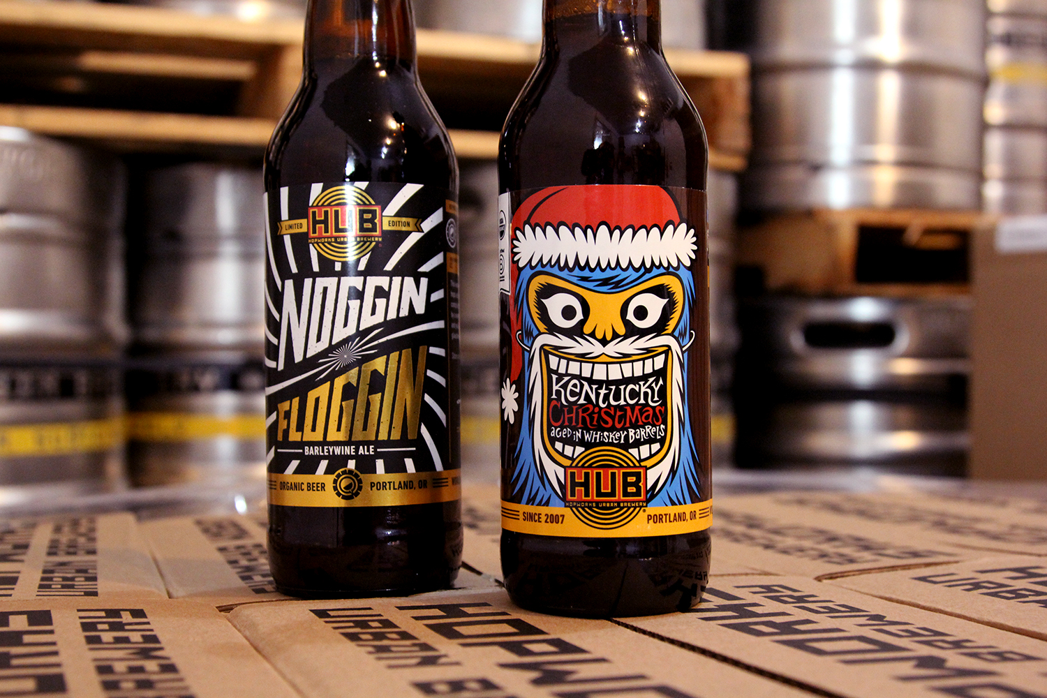 Bottles of Kentucky Christmas and Noggin Floggin Barleywine. (image courtesy of Hopworks Urban Brewery)