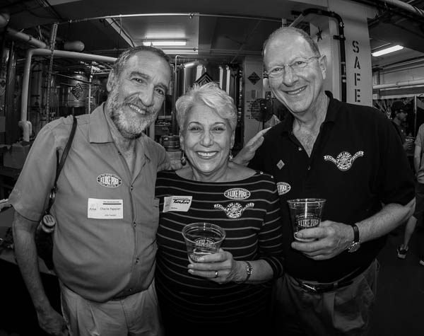 Charlie Papazian (left) along with RoseAnn and Charles Finkel. (image courtesy of Pike Brewing)