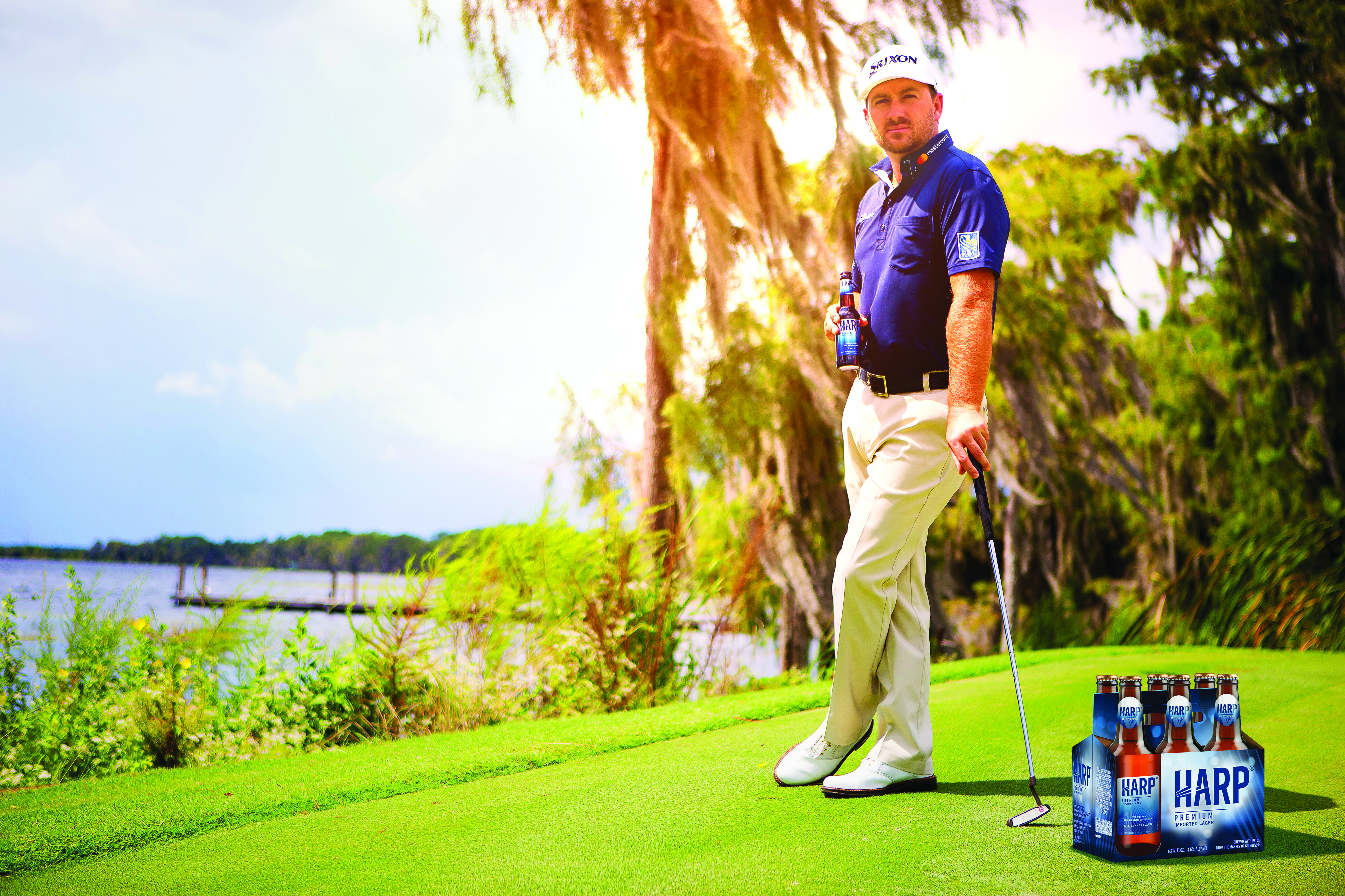 Graeme McDowell on the golf course with a six pack of Harp Lager. (image courtesy of Harp Lager)