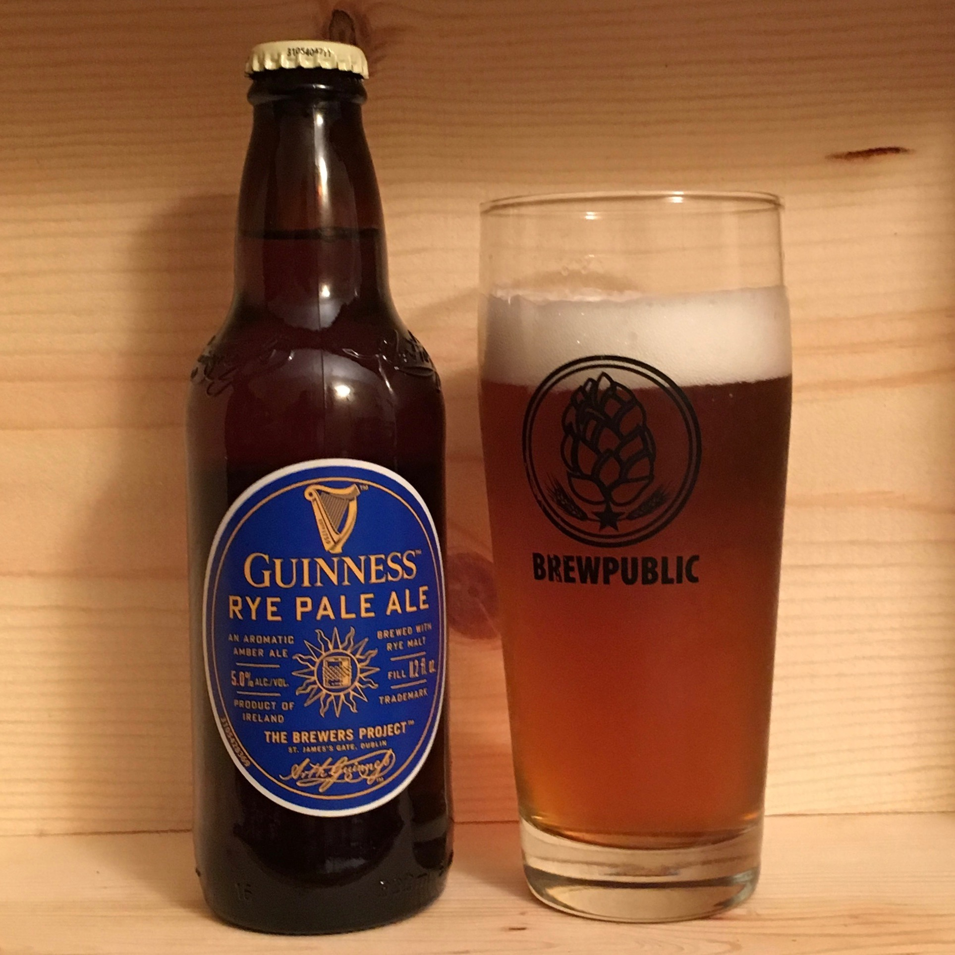 Guinness Rye Pale Ale is a delightful example of a rye pale ale. Great spice notes from the malted rye are accented nicely from the grapefruit notes of the Mosaic and Cascade Hops.