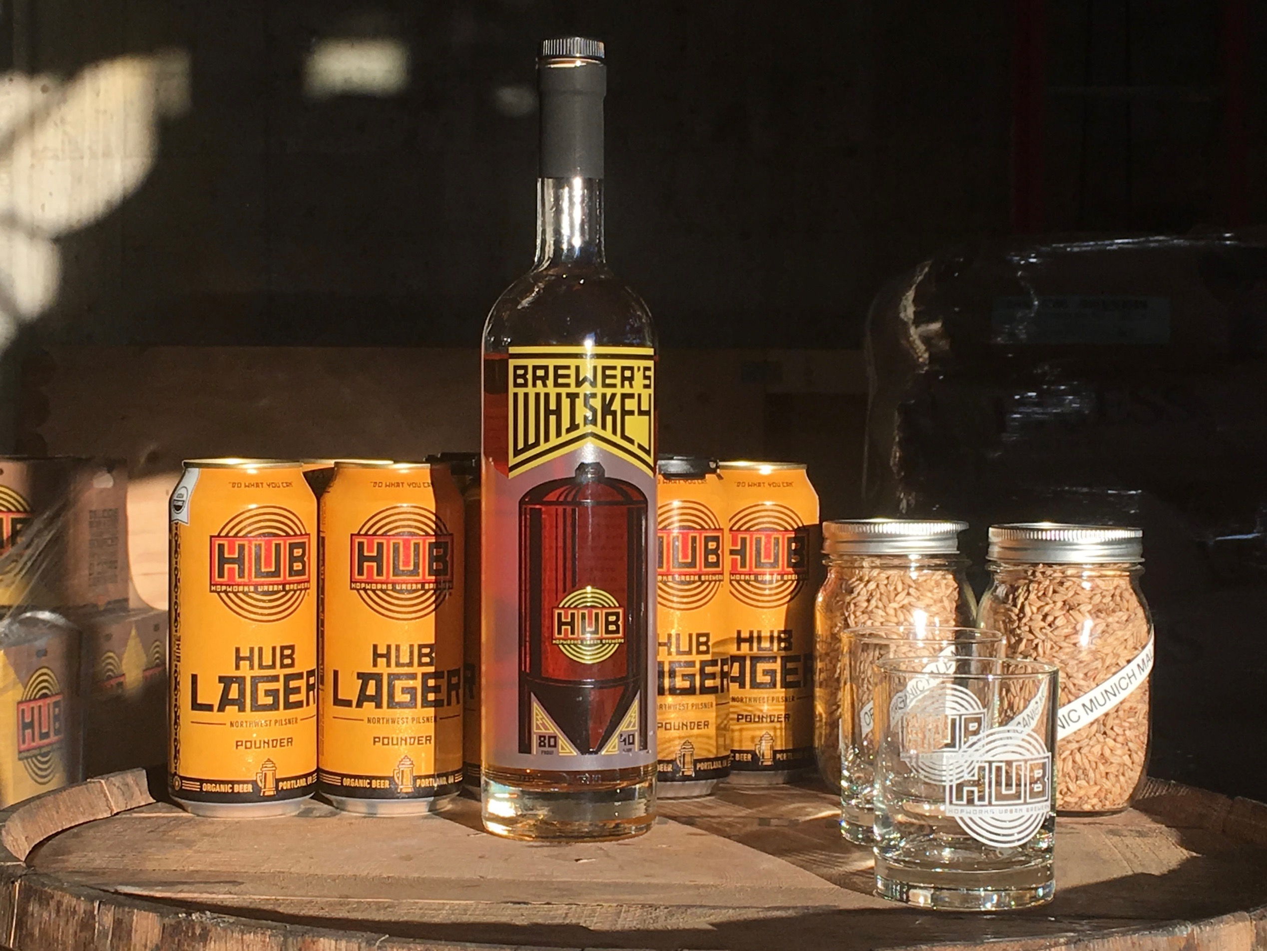 Hopworks Urban Brewery has partnered with New Deal Distillery on HUB Brewer's Whiskey available exclusively at Hopworks.