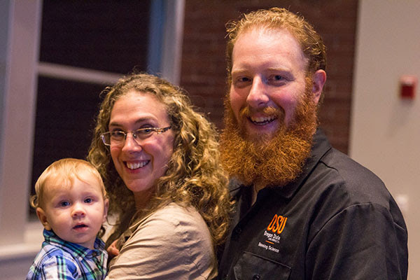Jack Joyce Scholarship recipient Josh McCallum with wife and son at the awards ceremony. (image courtesy of Rogue Ales)