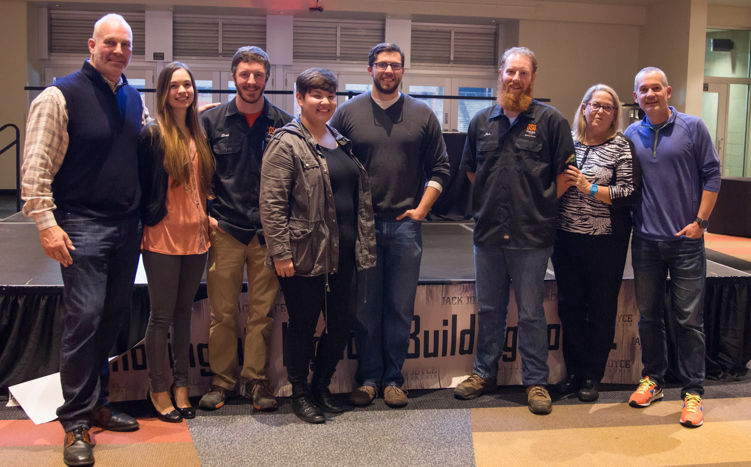 Jack Joyce Scholarship recipients. Pictured from left to right/ Mark Walen, Kaylyn Kirkpatrick, Brad Barnett, Lorena Ramos, Justin Alexander, Josh McCallum, Joan Joyce, Brett Joyce. (image courtesy of Rogue Ales)