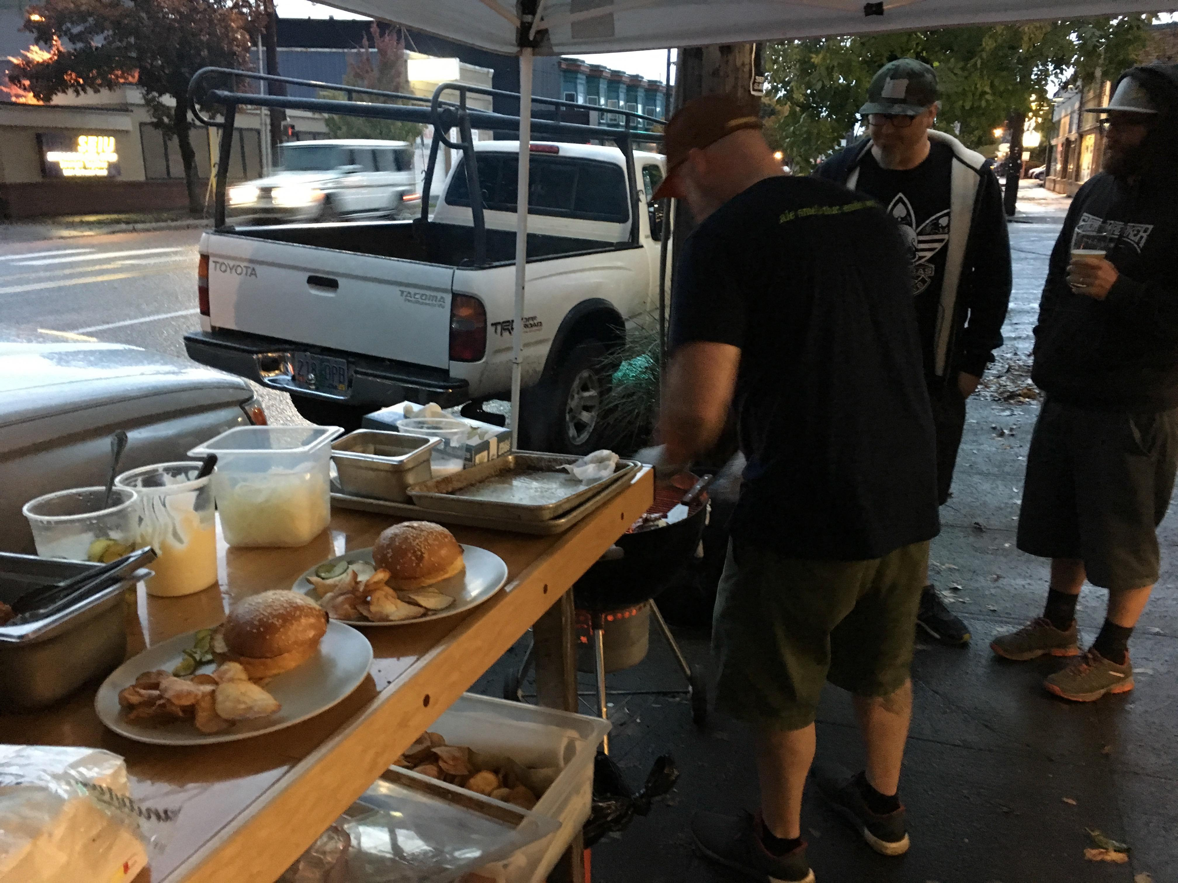 Jackson Wyatt prepares his sous vide burgers at N.W.I.P.A.