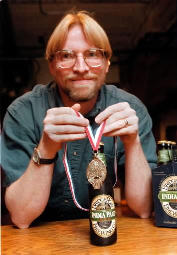 Karl Ockert and his BridgePort IPA. (image courtesy of BridgePort Brewing)