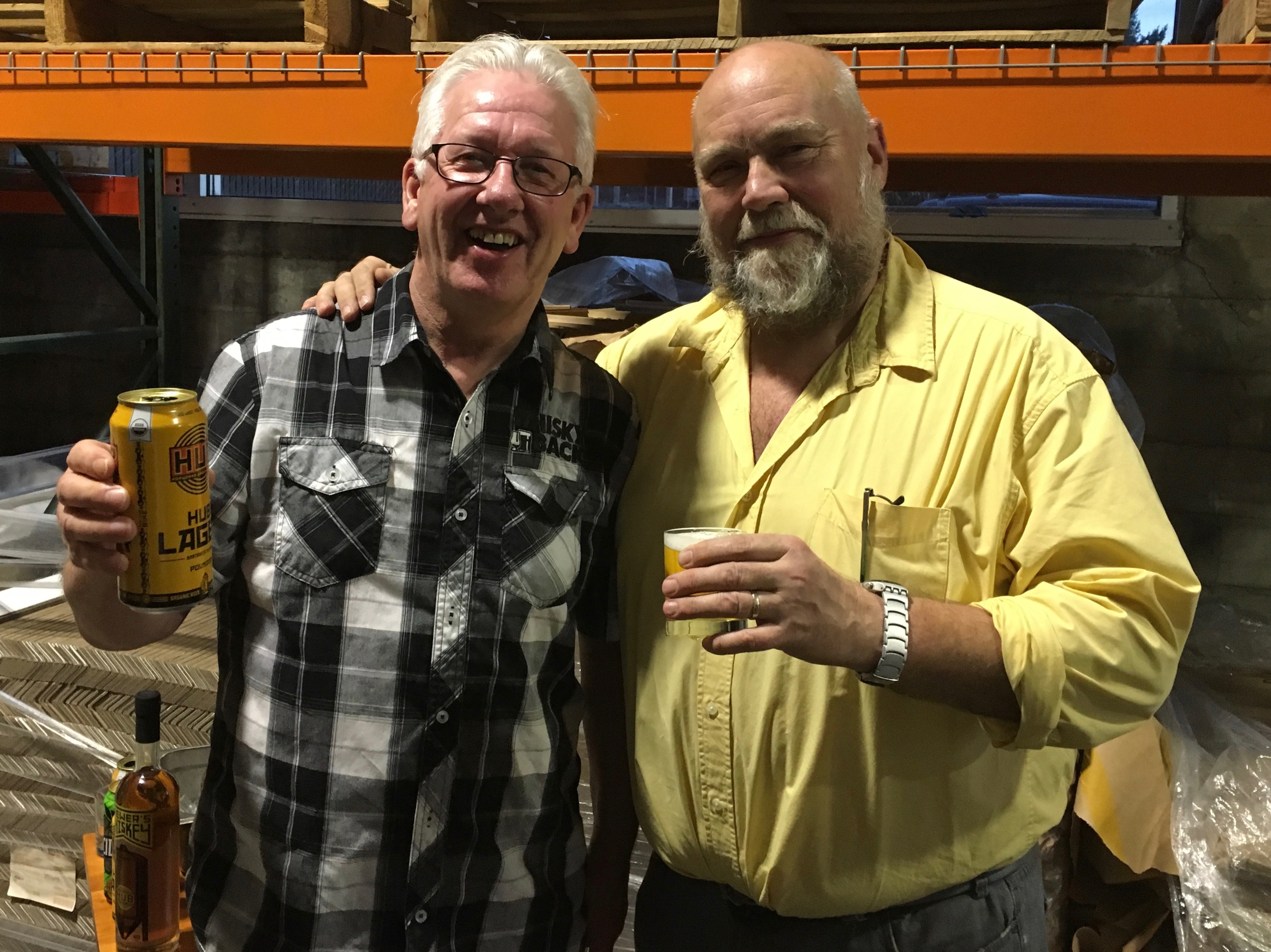 Local whiskey expert Stuart MacLean Ramsay and John Foyston at the media preview for HUB Brewer's Whiskey at Hopworks Urban Brewery.