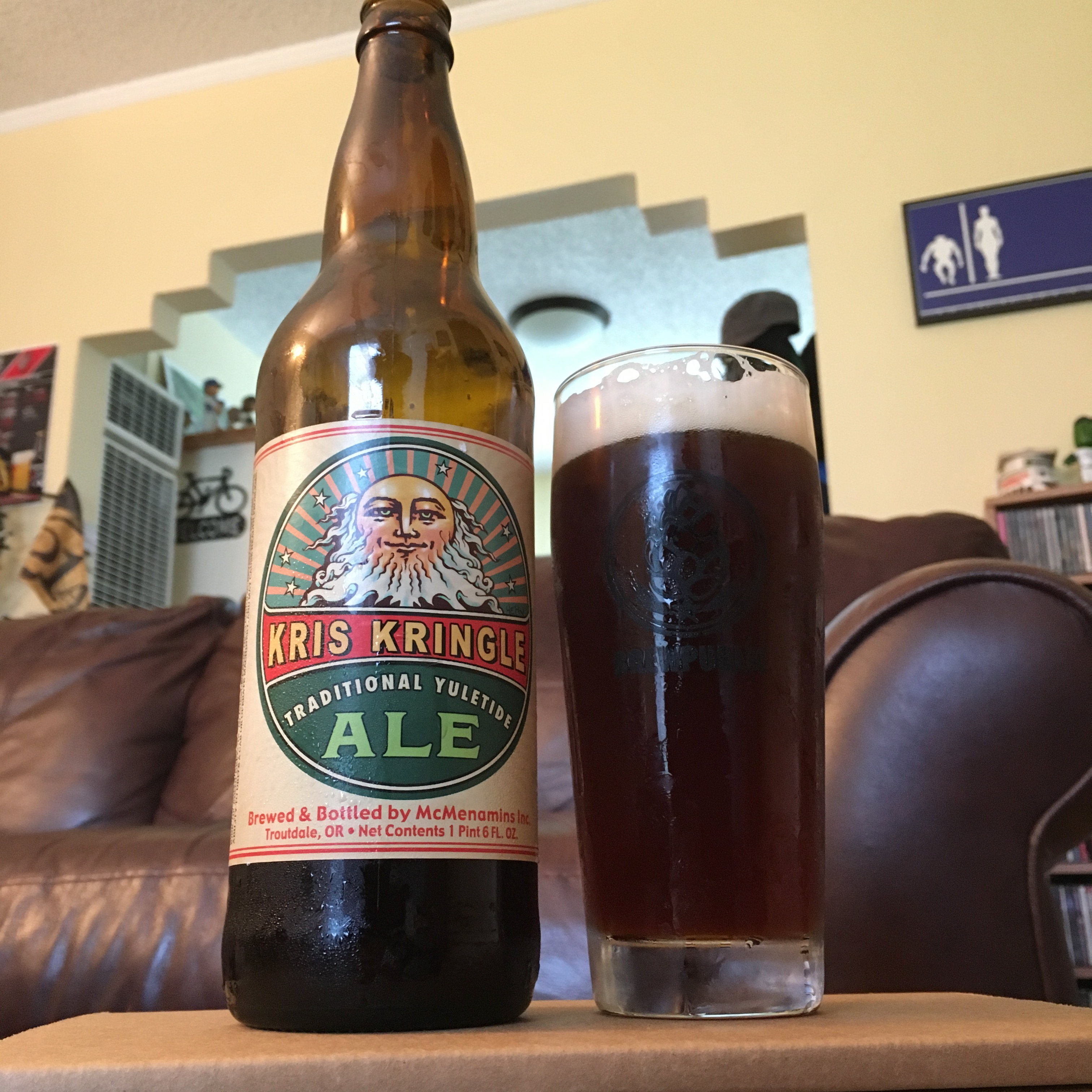 McMenamins 2016 Kris Kringle Traditional Yuletide Ale poured into a Brewpublic glass.