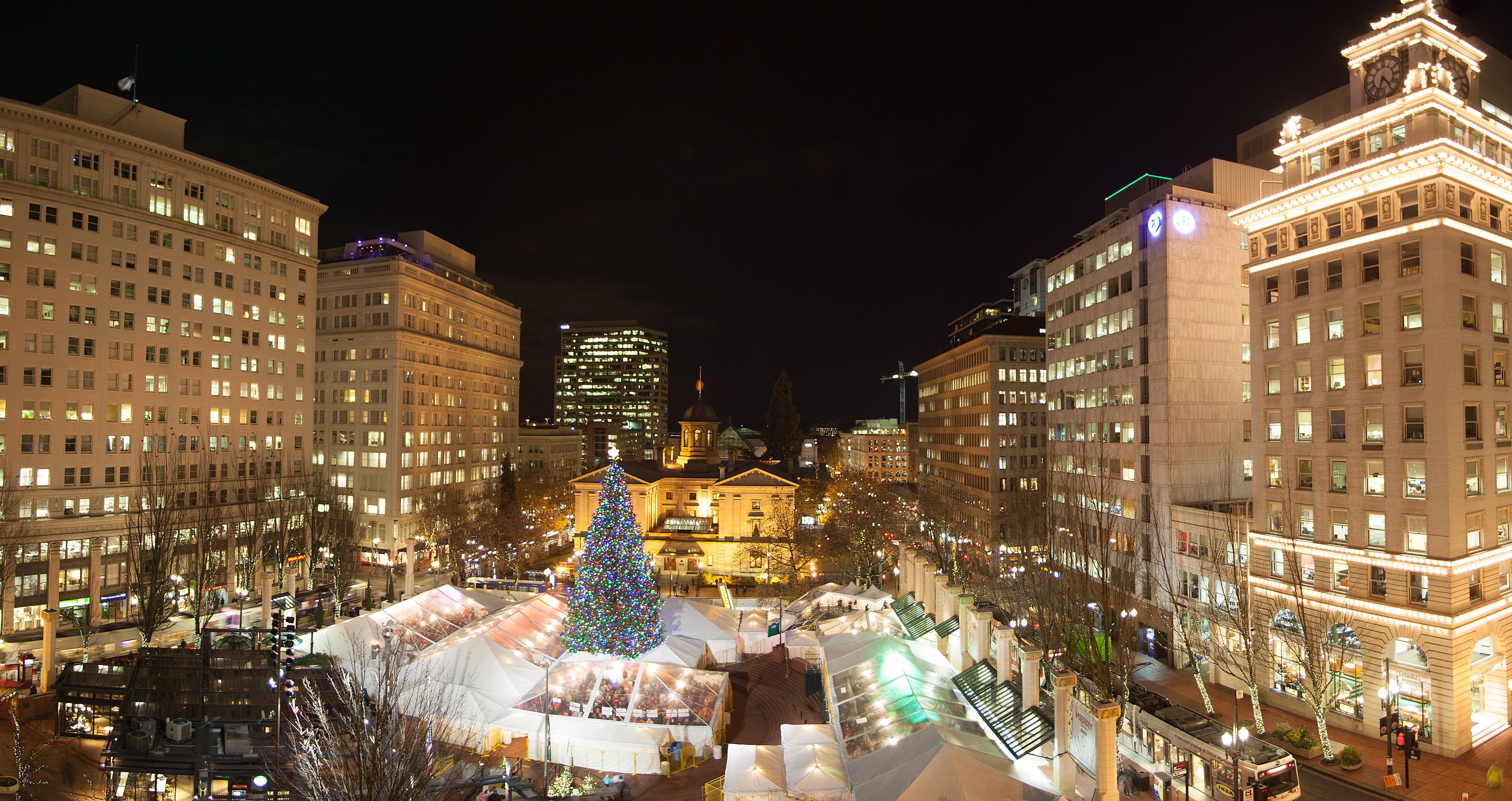 Portland Christmas Tree and Holiday Ale Festival tent at night. (photo by Timothy Horn)