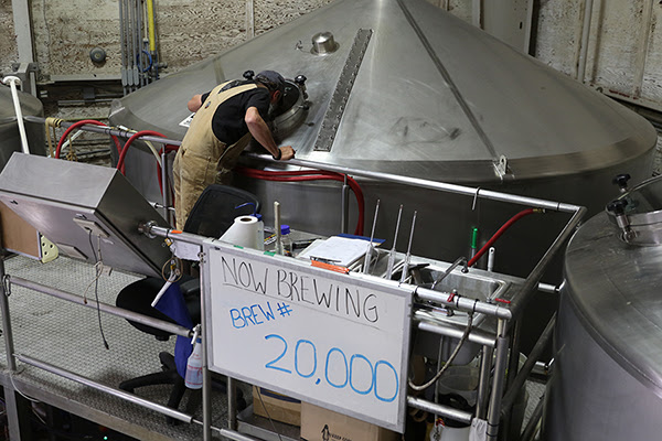 John Maier of Rogue Ales brewing his 20,000 batch of beer. (image courtesy of Rogue Ales)