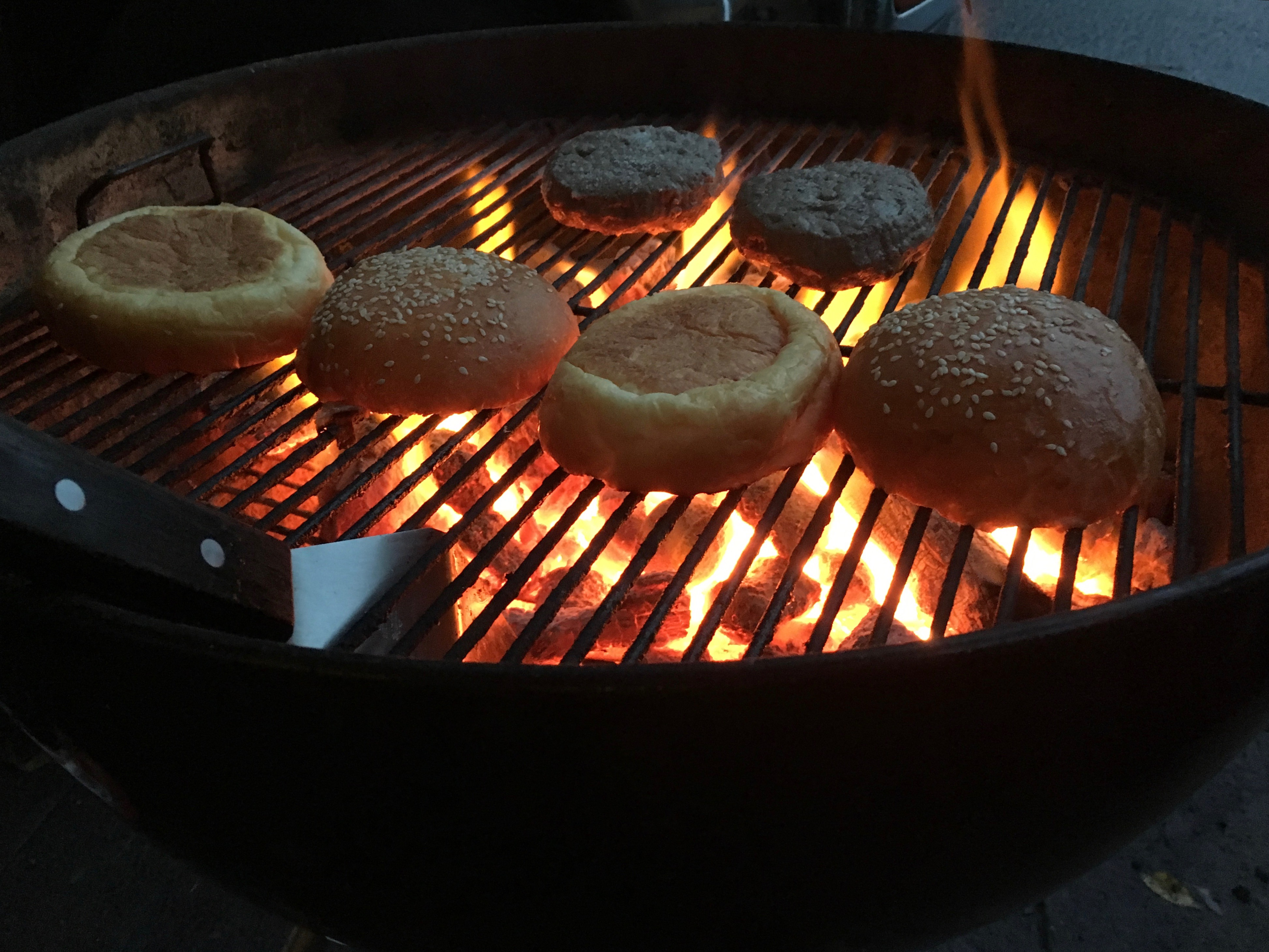 Searing the sous vide burgers at N.W.I.P.A. on a Burger Mondays night.