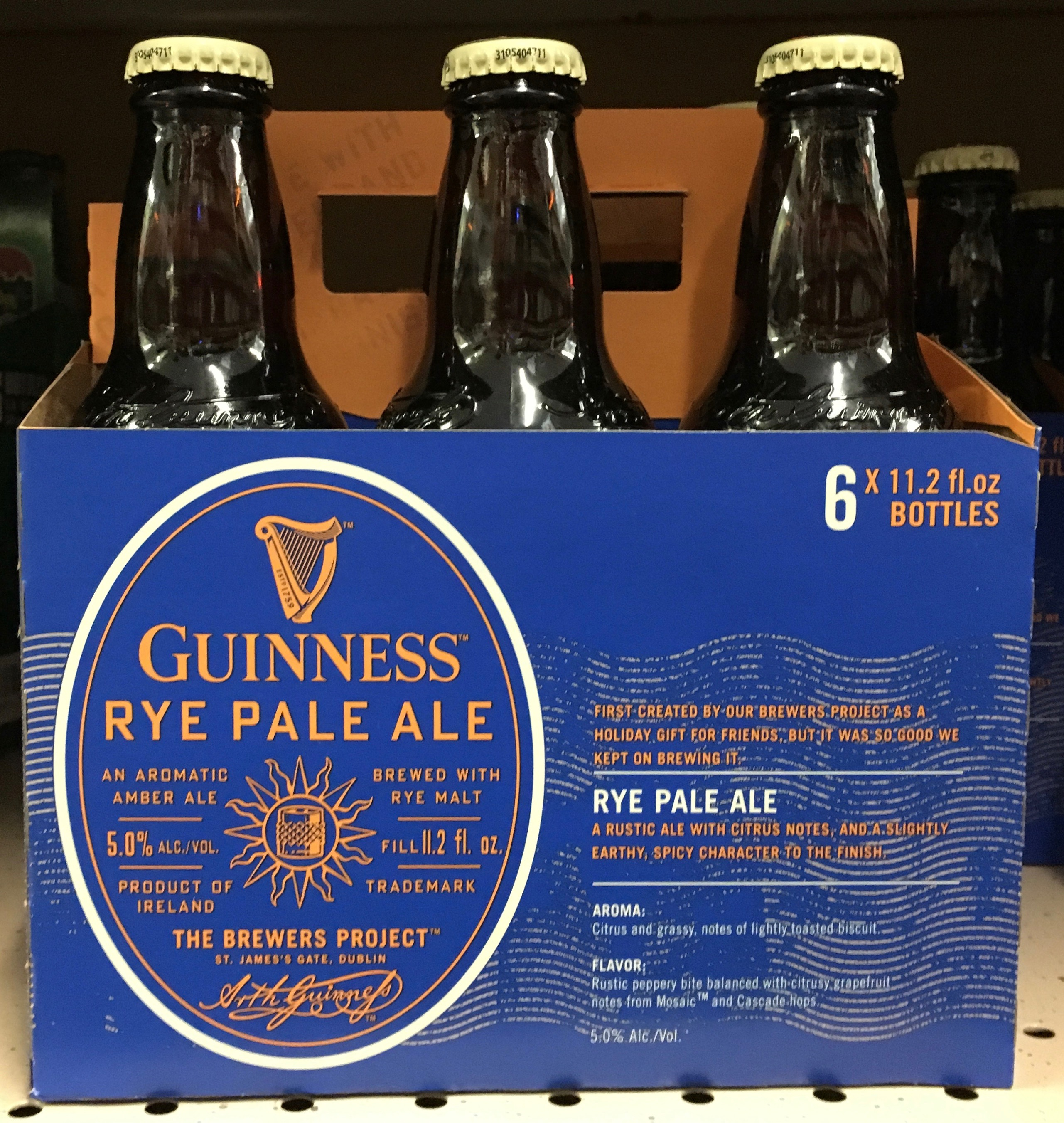 A six pack of Guinness Rye Pale Ale found at John's Marketplace in Southwest Portland.