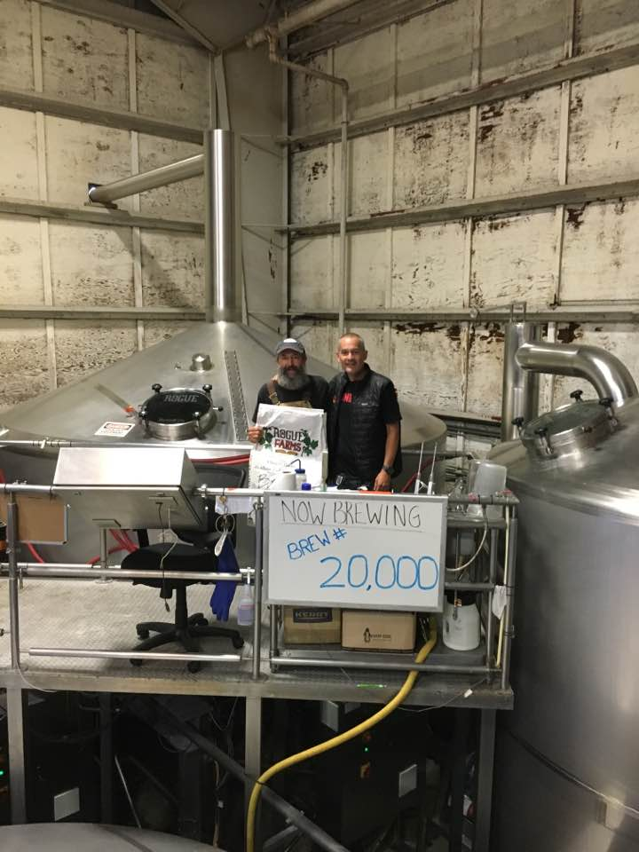 """So honored to know and work with John Maier since 1989. Brewing his 20,000th batch of Rogue today. Hats off to a Mt Rushmore brewer,"" Brett Joyce. (photo courtesy of Rogue Ales)"