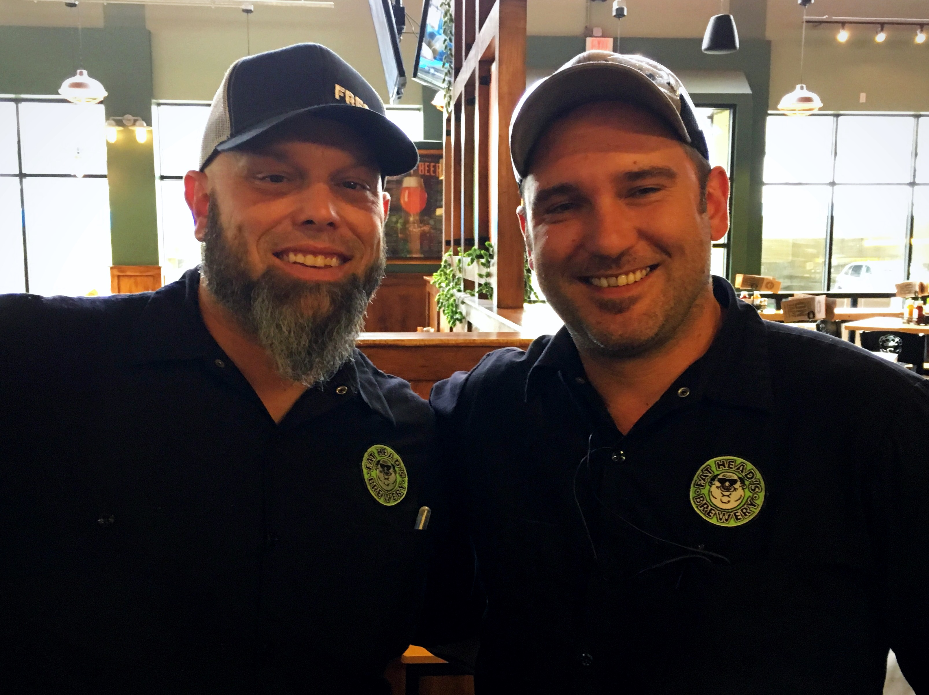 The brewers behind the fine beers at Fat Head's, Michael Hunsaker and Eric Van Tassel at Fat Head's Brewery in Portland, Oregon.