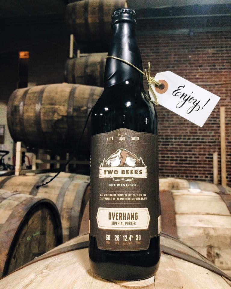 A 22oz bottle of Two Beers Overhang Imperial Porter. (image courtesy of Two Beers)