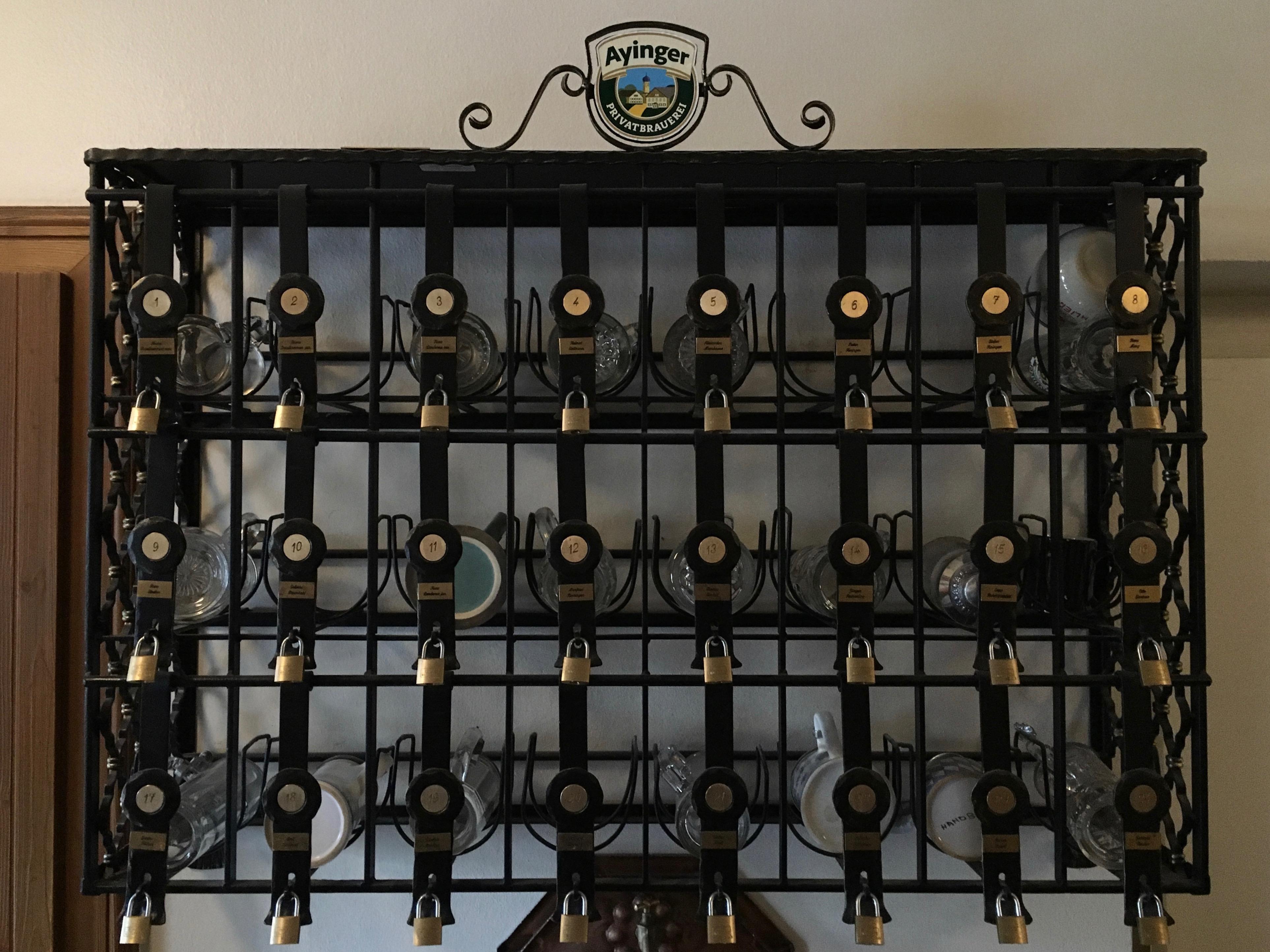 A stein locker inside Ayinger Braustuberl.