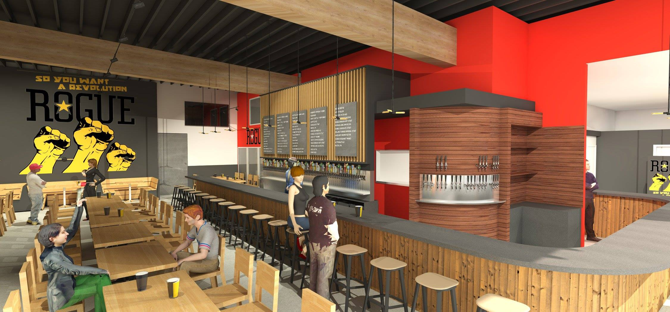 An inside rendering of the new Rogue East Side Pub & Pilot Brewery. (image courtesy of Steelhead Architecture)