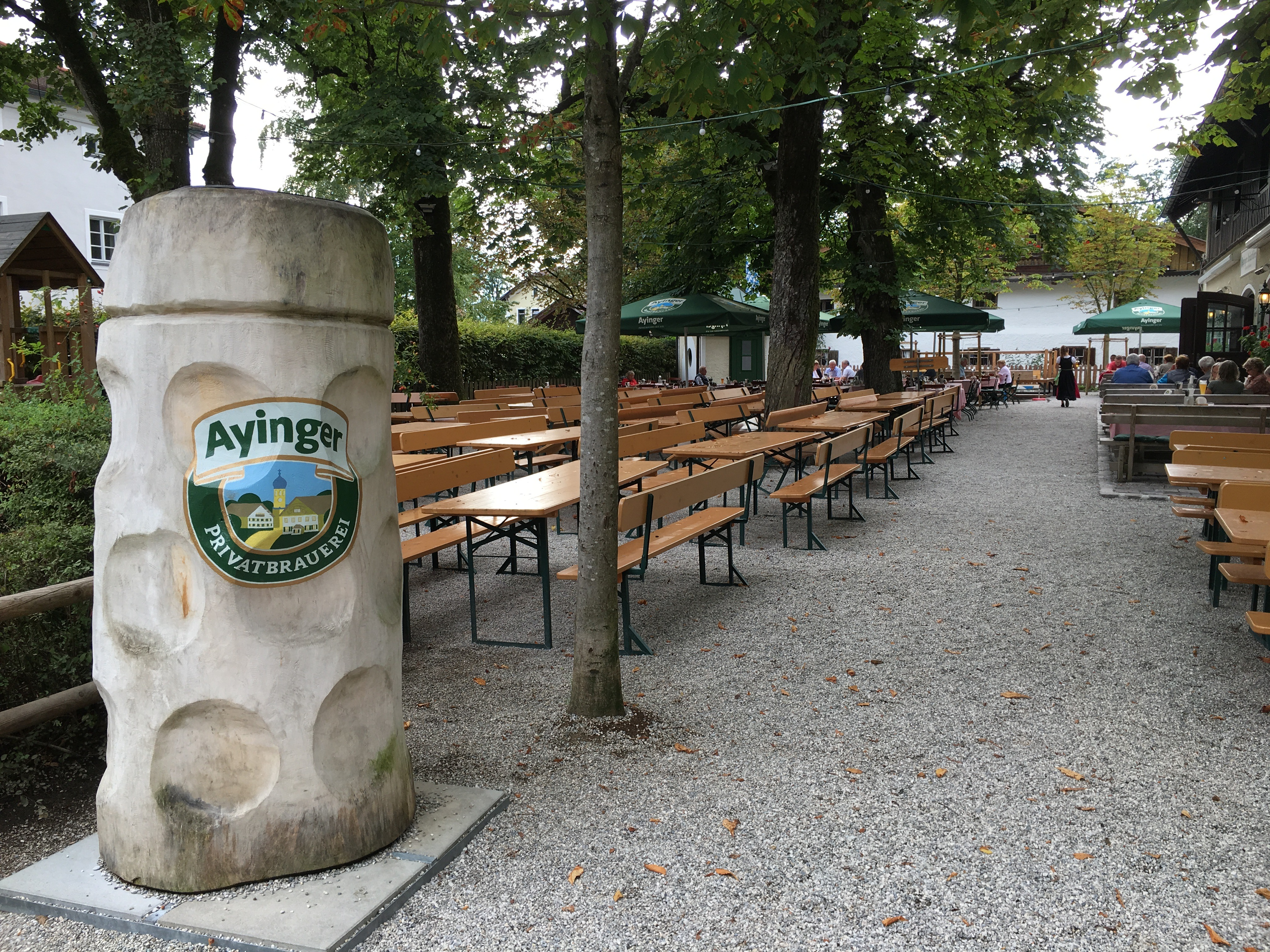 A view of the massive beer garden seating at Ayinger Braustuberl.