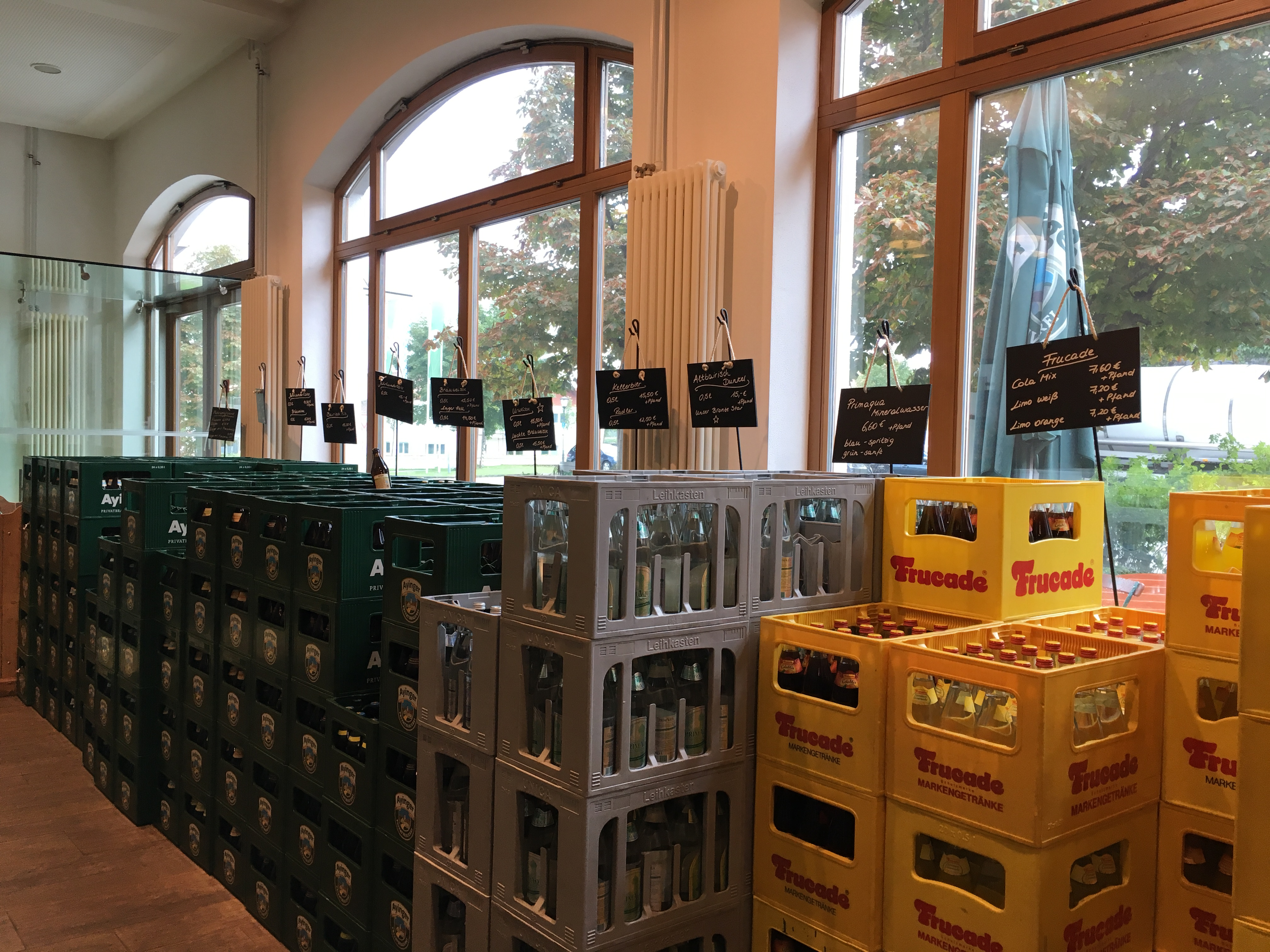 Many beer choices inside the Ayinger gift shop.
