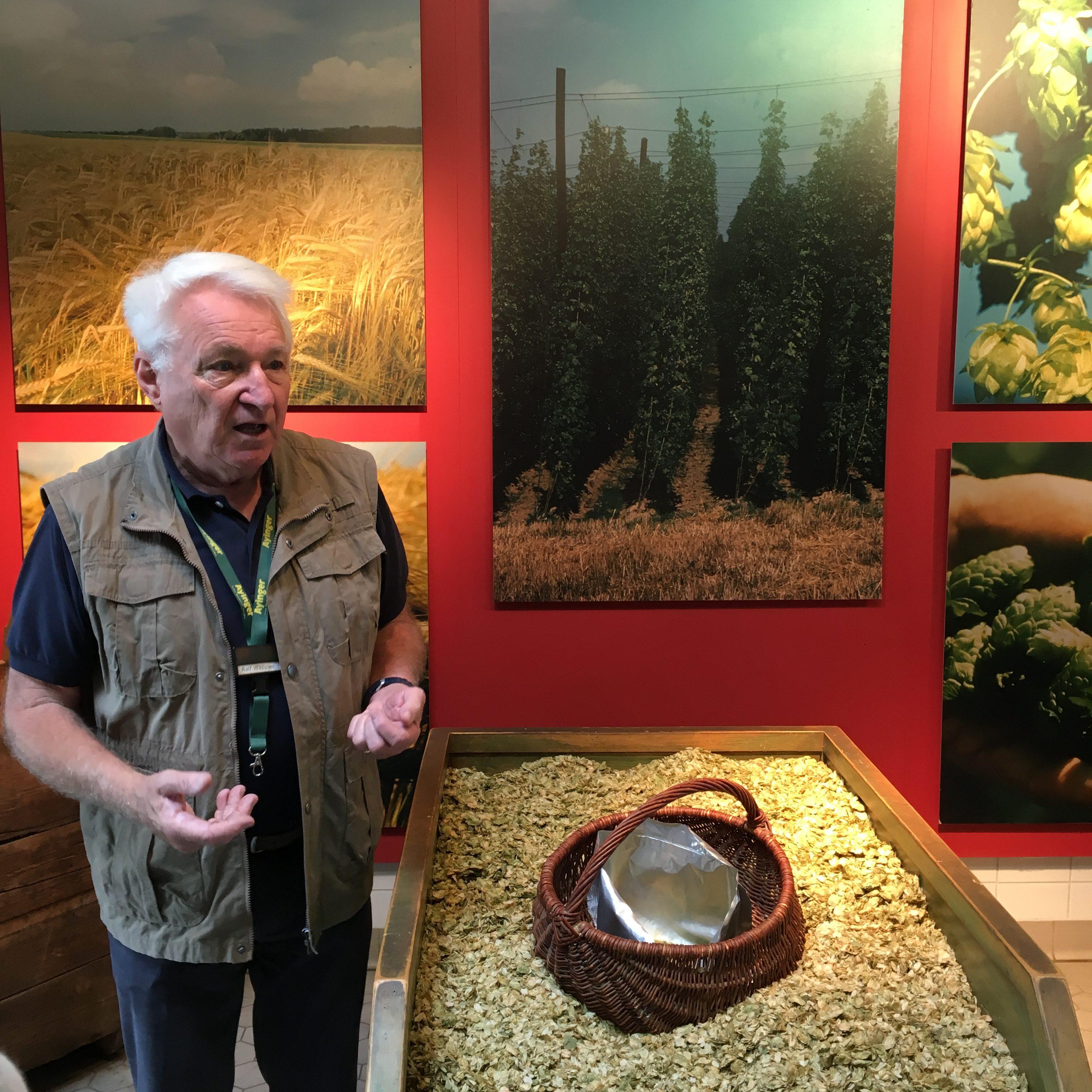 Ayinger tour guide Ralf Wappler describing the German hops.