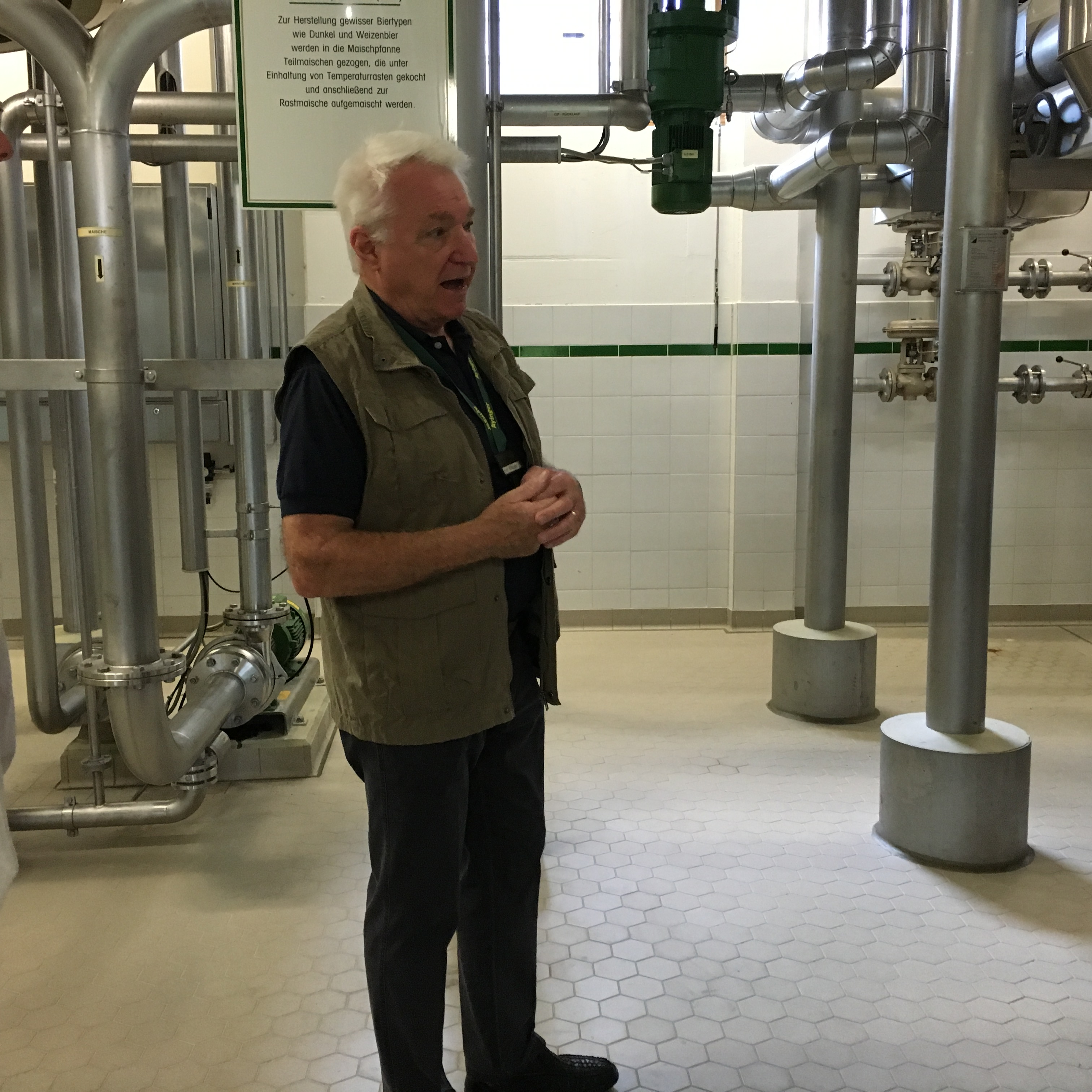 Ayinger tour guide Ralf Wappler giving us information on the brewing process....in German.