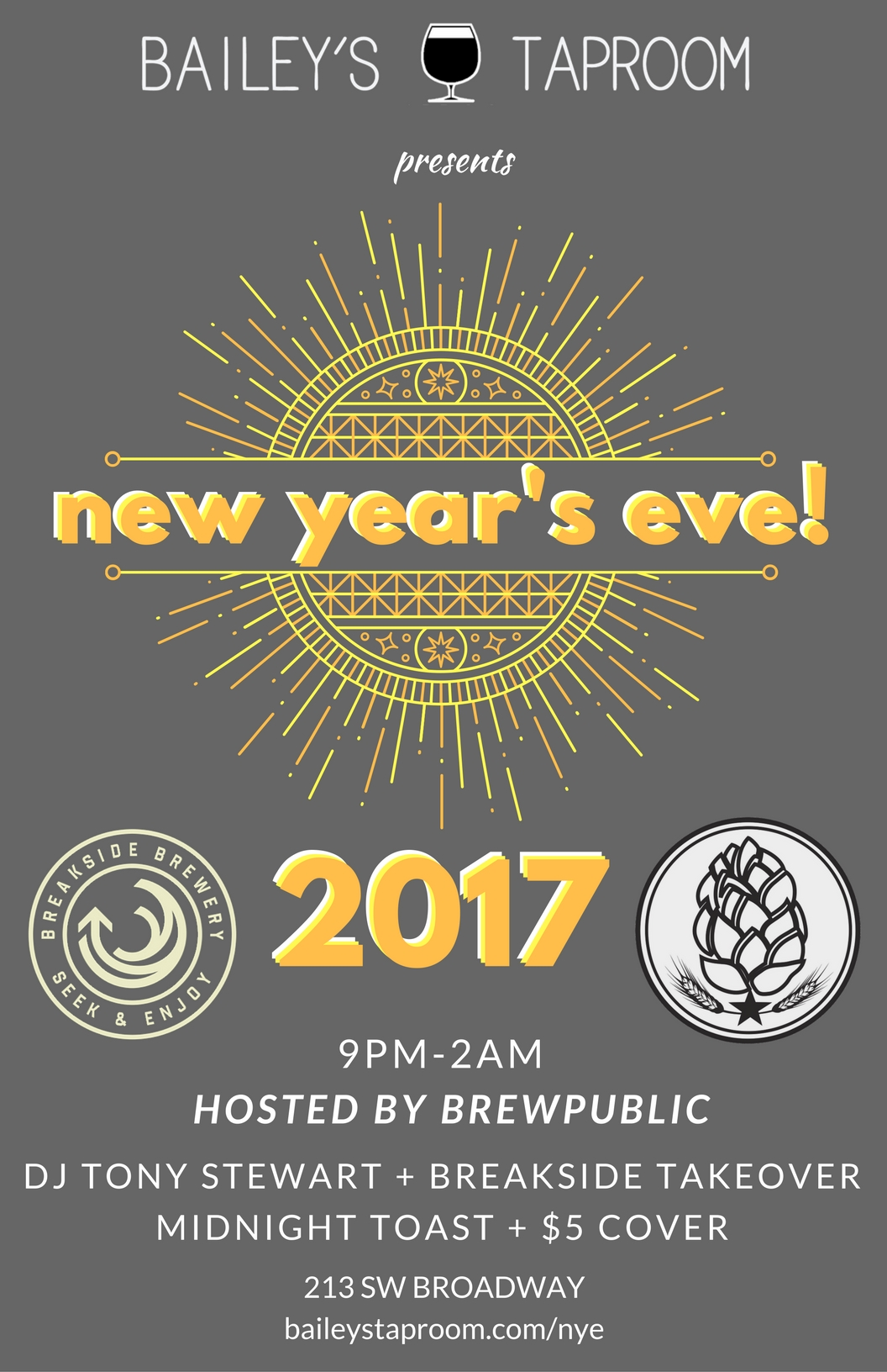 Ring In The New Year At Bailey's Taproom New Year's Eve Party