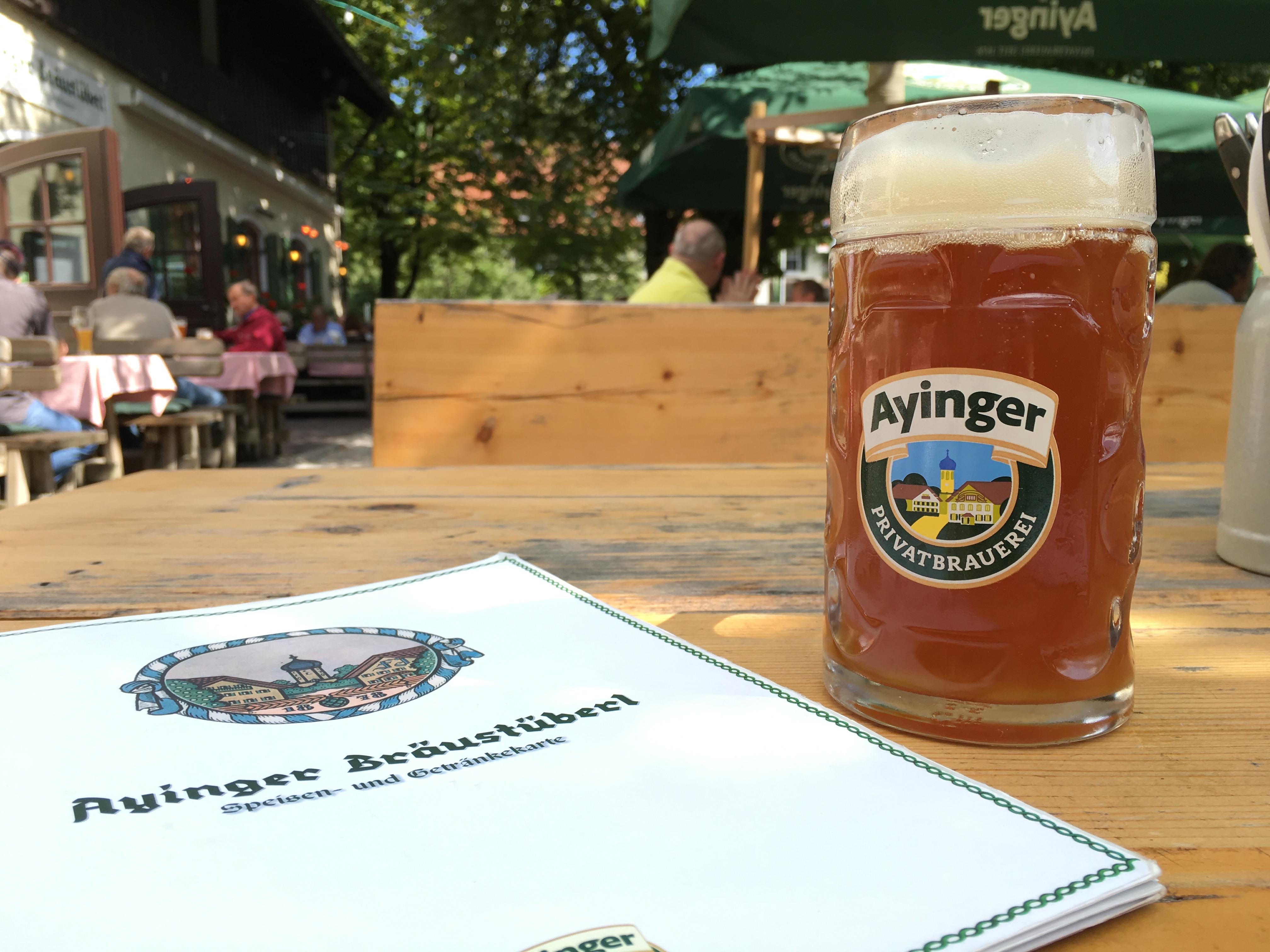 Enjoying an Ayinger Kirtabier at Ayinger Braustuberll.