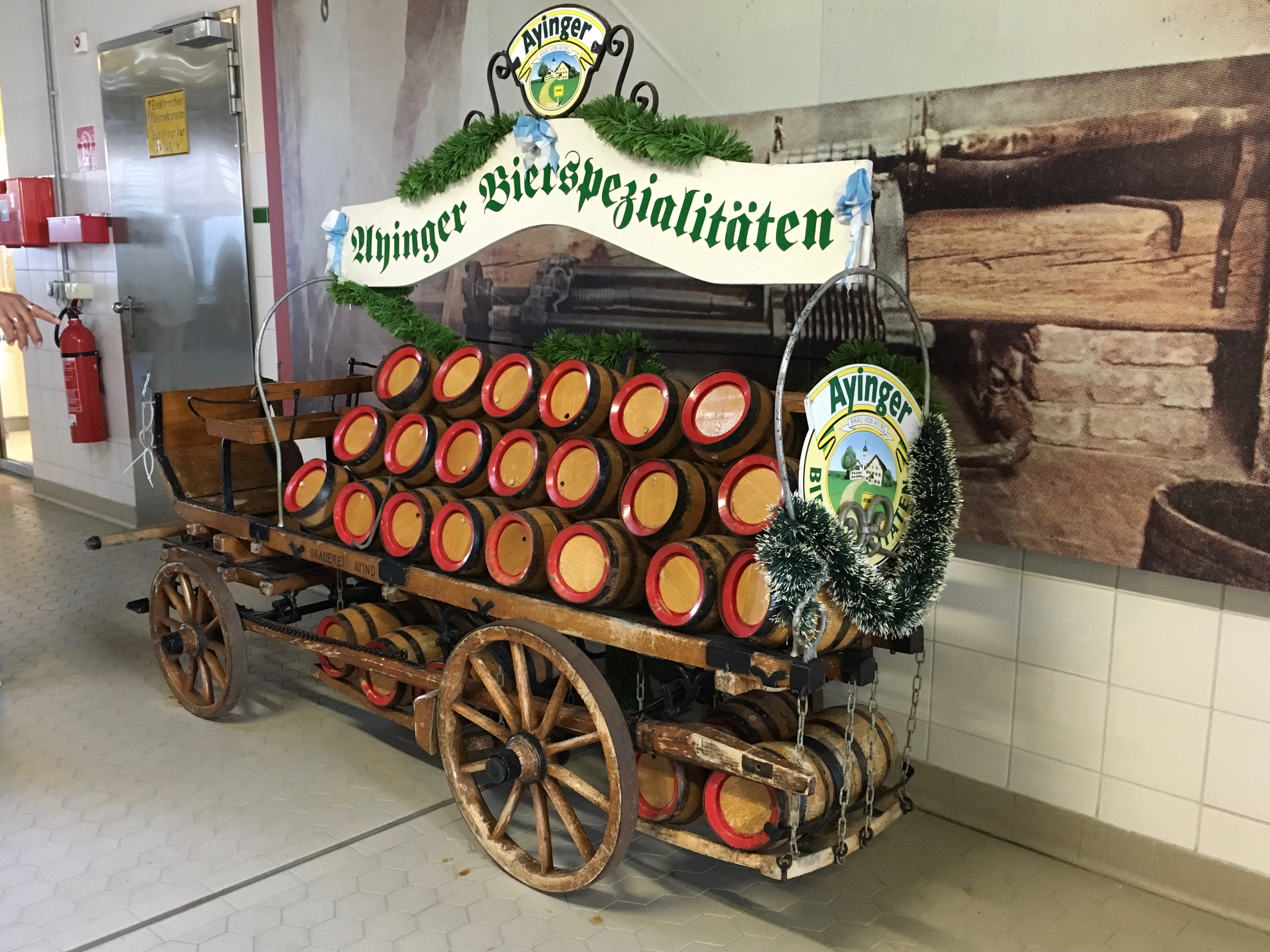 Festive beer trailer inside the Ayinger Brewery.