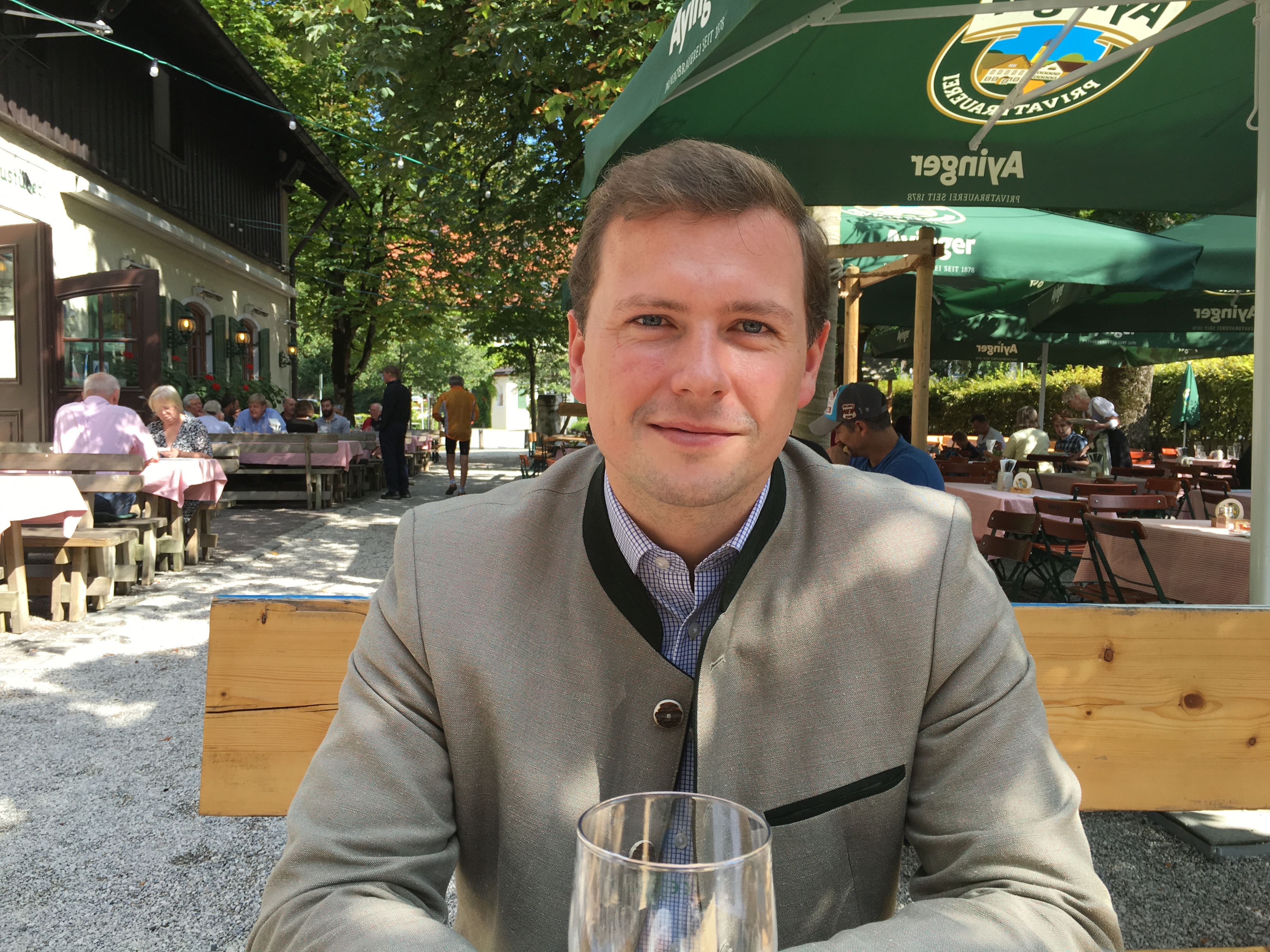 Having lunch with Franz Inselkammer III at Ayinger Braustuberl.