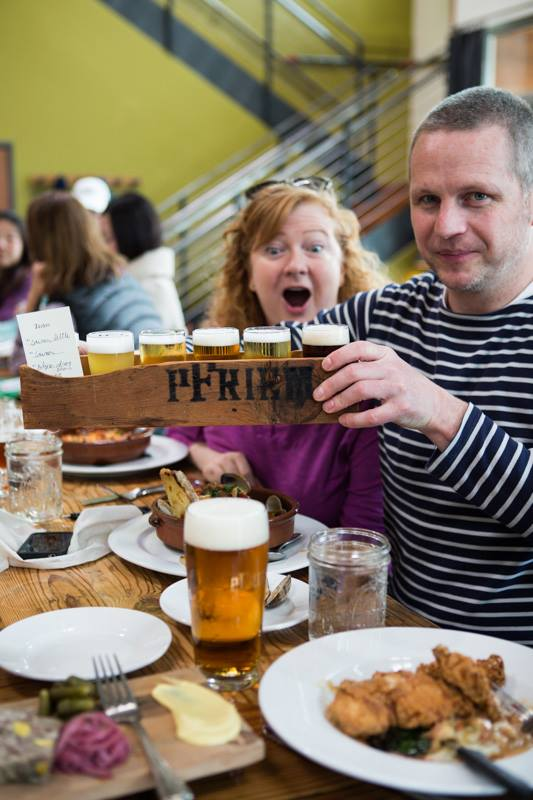Lisa Morrison and Luc De Raedemaeker at pFriem Family Brewers. (photo courtesy of Bart Van Der Perre)