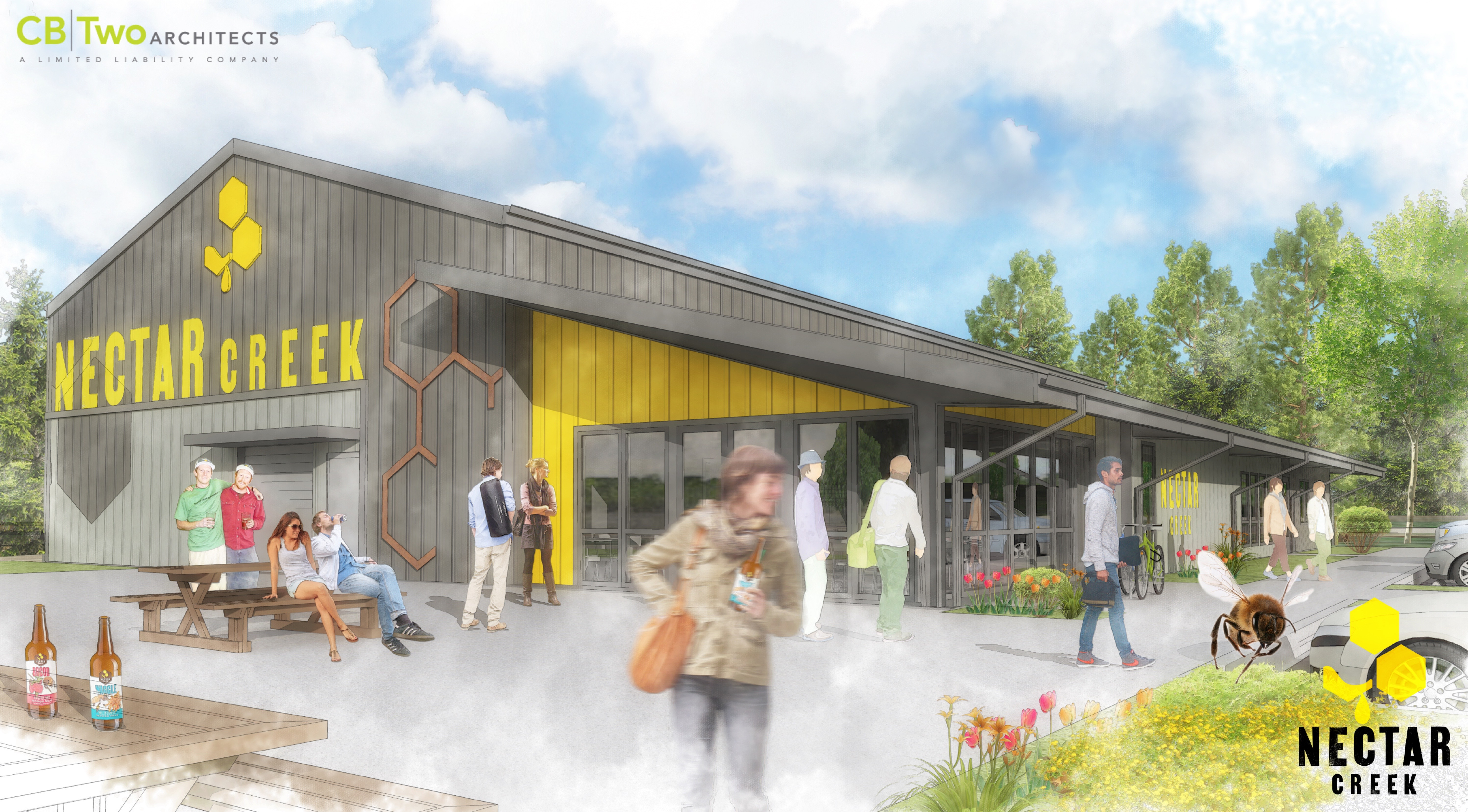 New Nectar Creek Building to be built in Philomath, Oregon. (image courtesy of CB Two Architects)