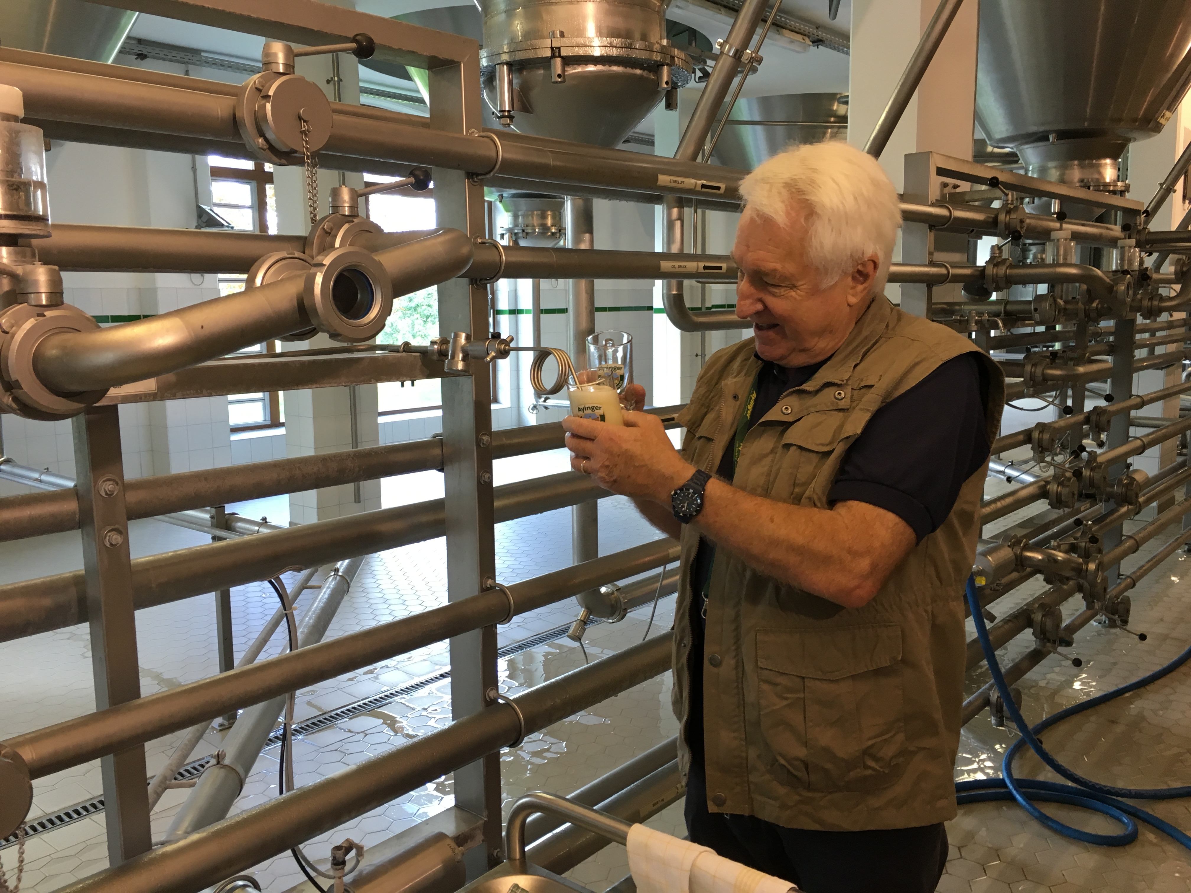 Our most excellent tour guide, Ralf Wappler, pouring from the zwickel at Ayinger Brewery.