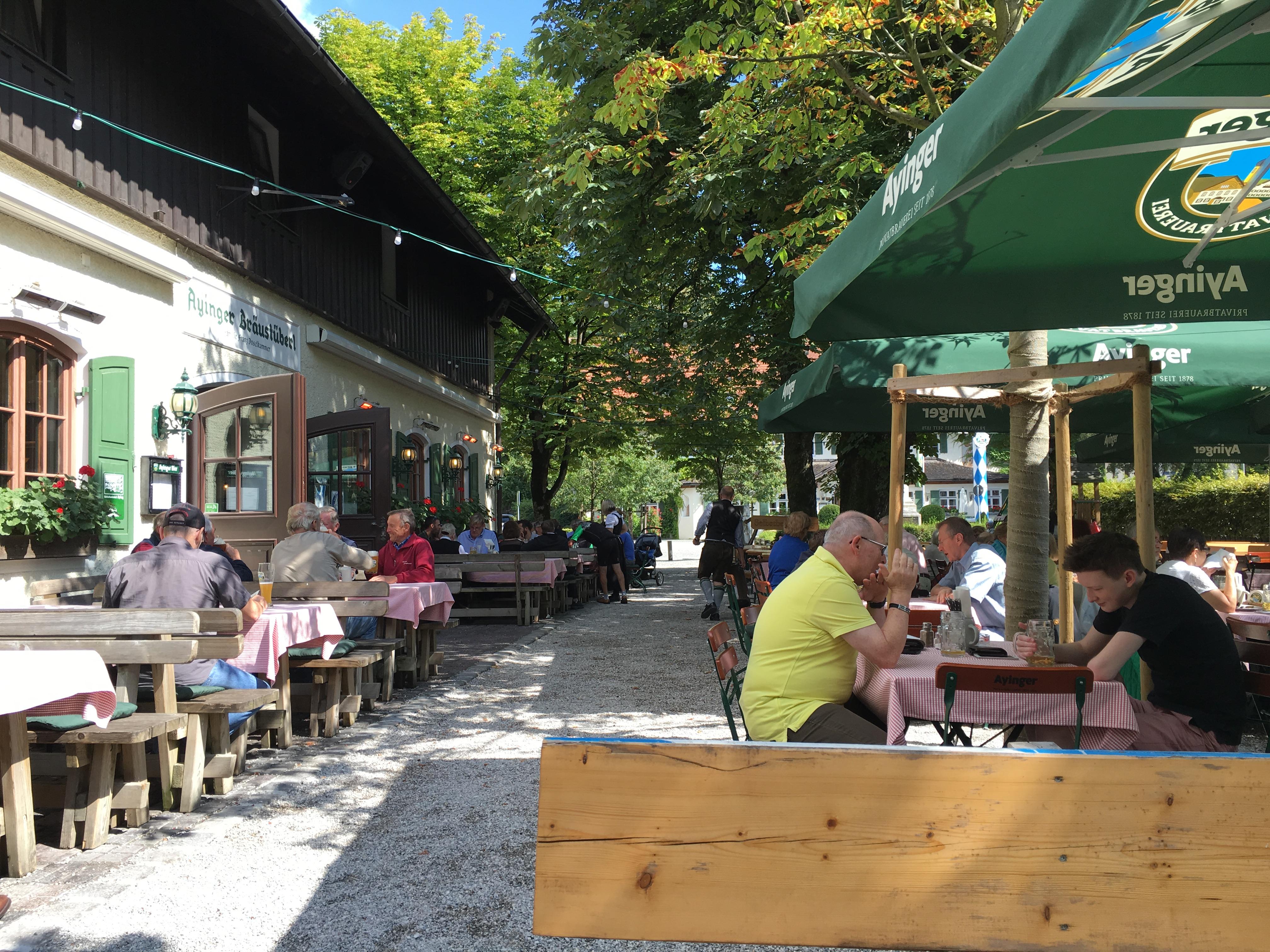 The beer garden at Ayinger Braustuberl.