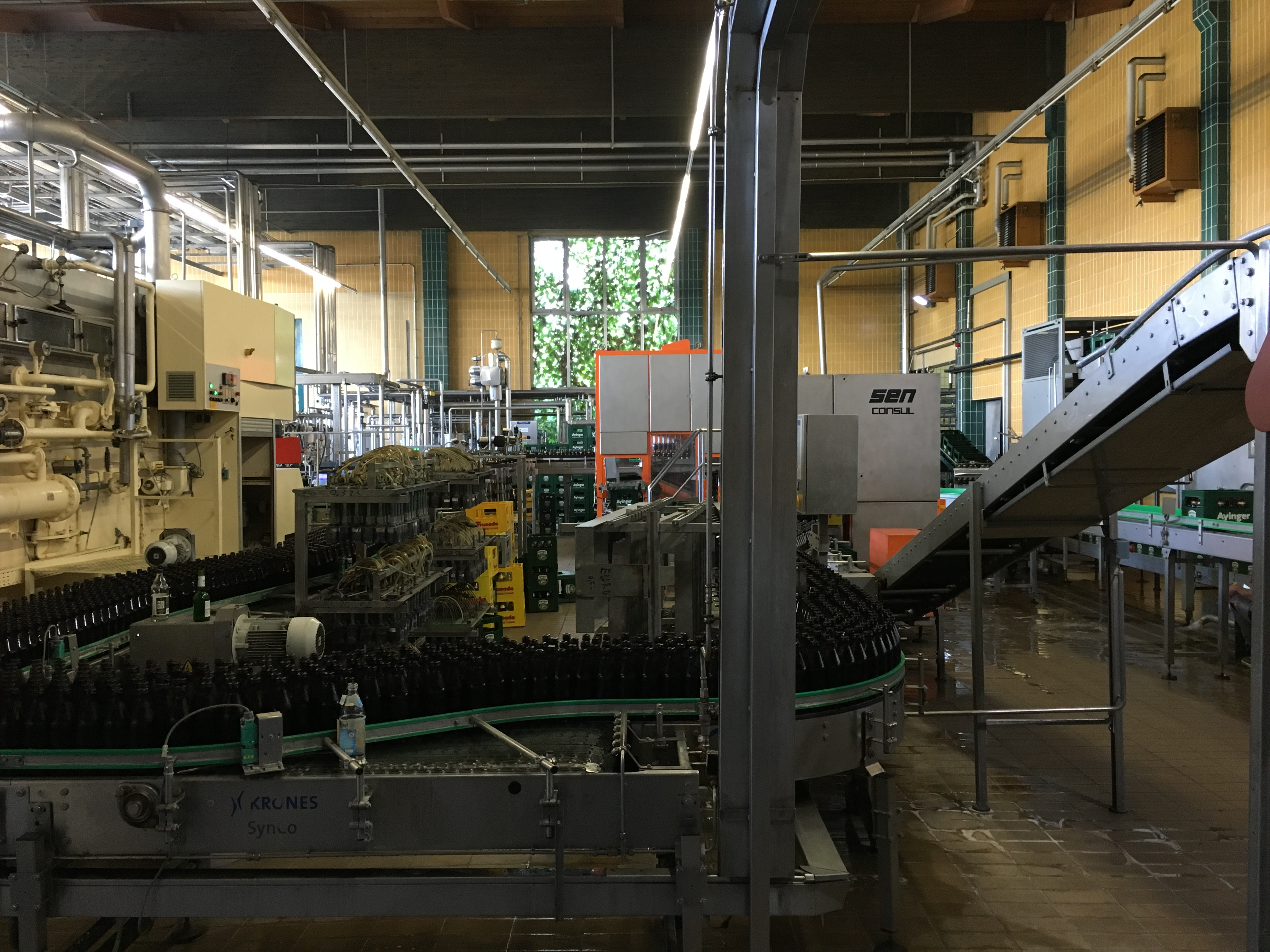 The bottling line at Ayinger Brewery.