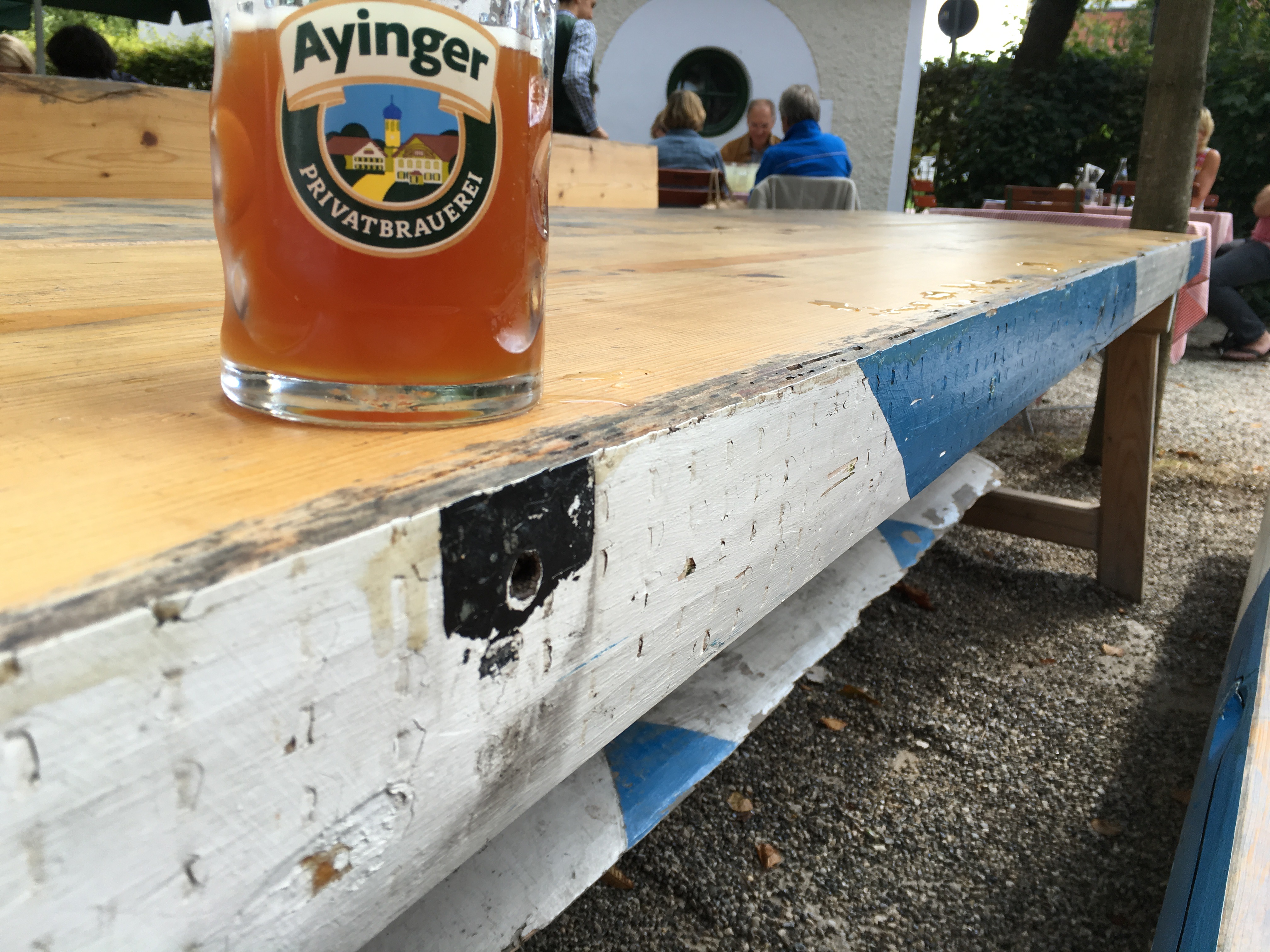 The table I sat at was made from the former maypole in front of Brauereigasthof Hotel Aying while at Ayinger Braustuberl.