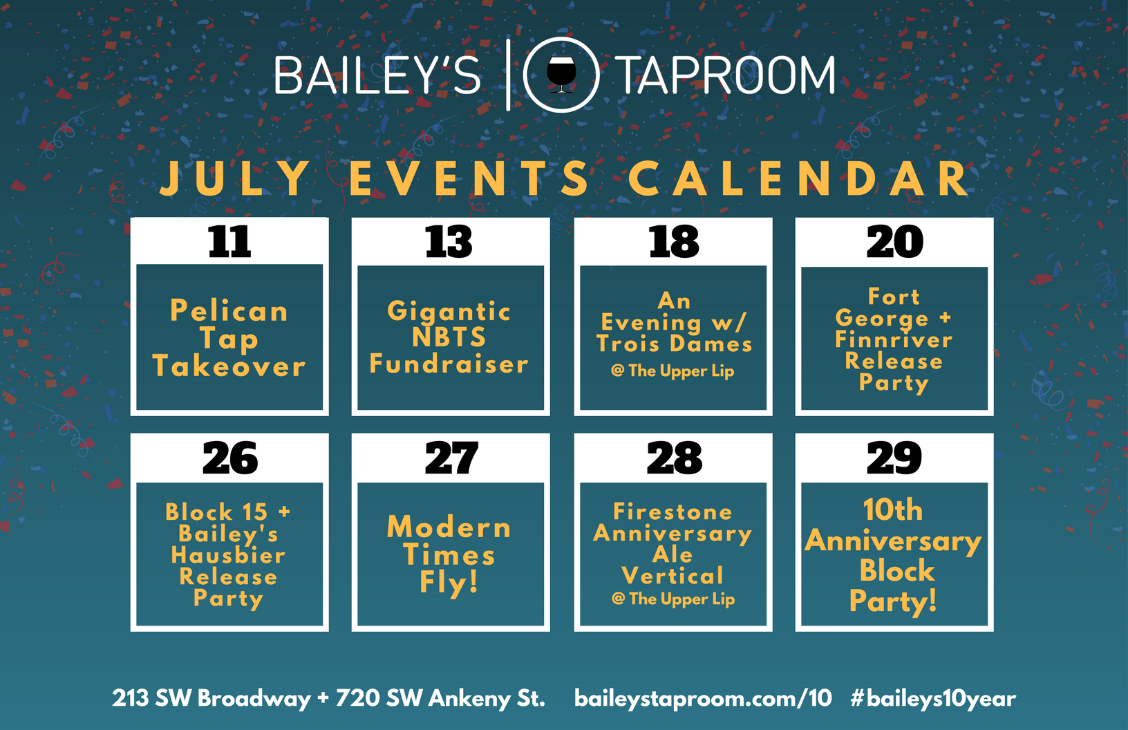 bailey s taproom 10 year anniversary celebration july 2017