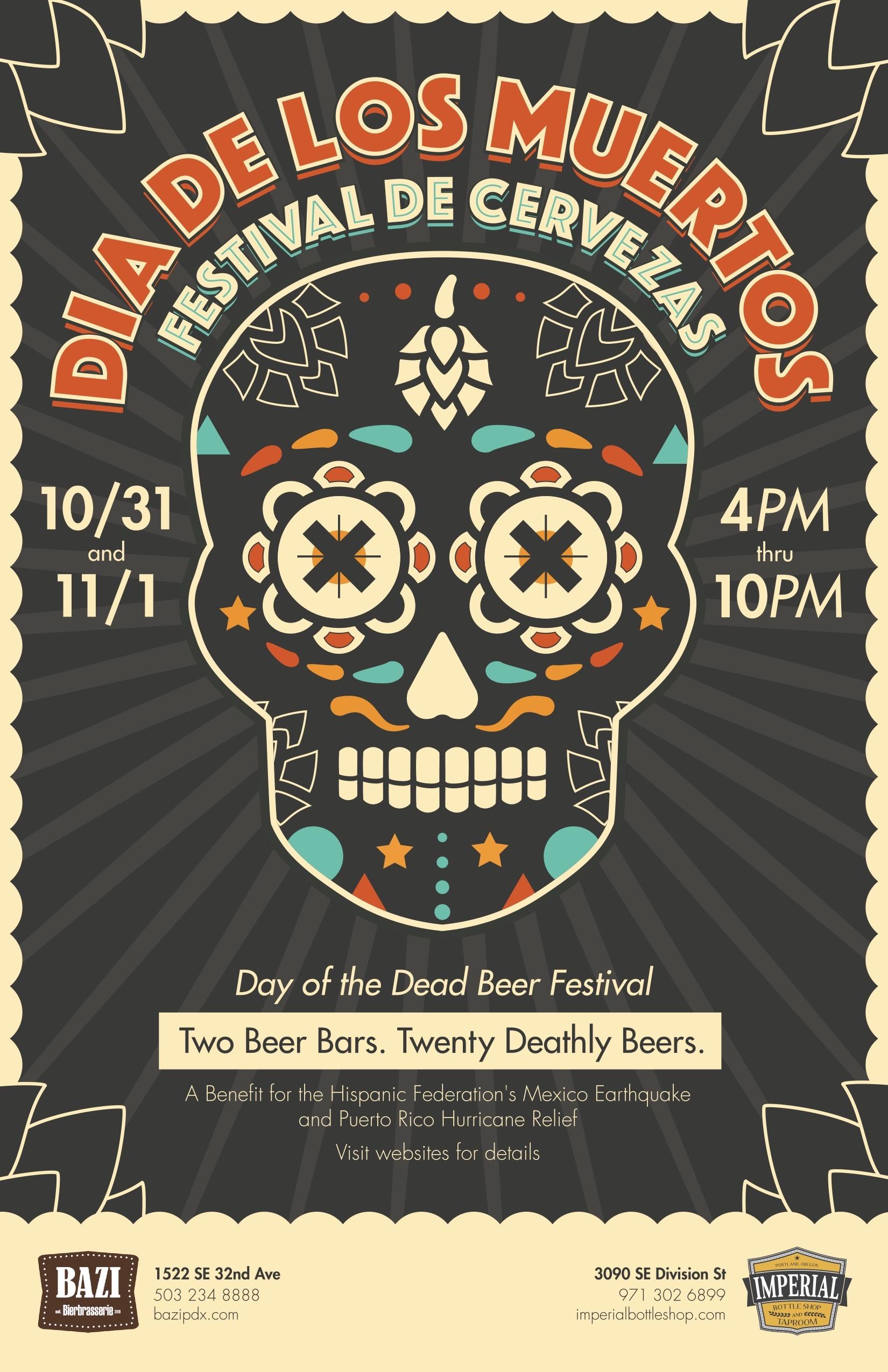 Bazi Bierbrasserie & Imperial Bottle Shop Presents the 2017 Día De Los Muertos Festival De Cervezas – All Souls Day Beer Festival