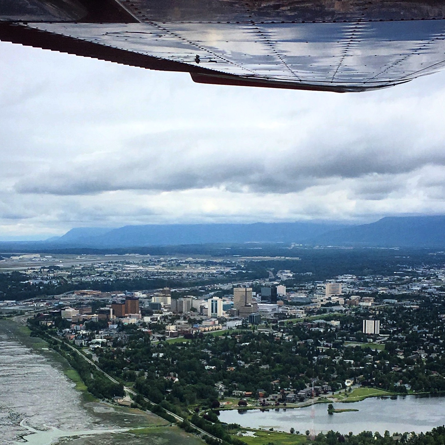 An aerial view of Anchorage from a float plane.